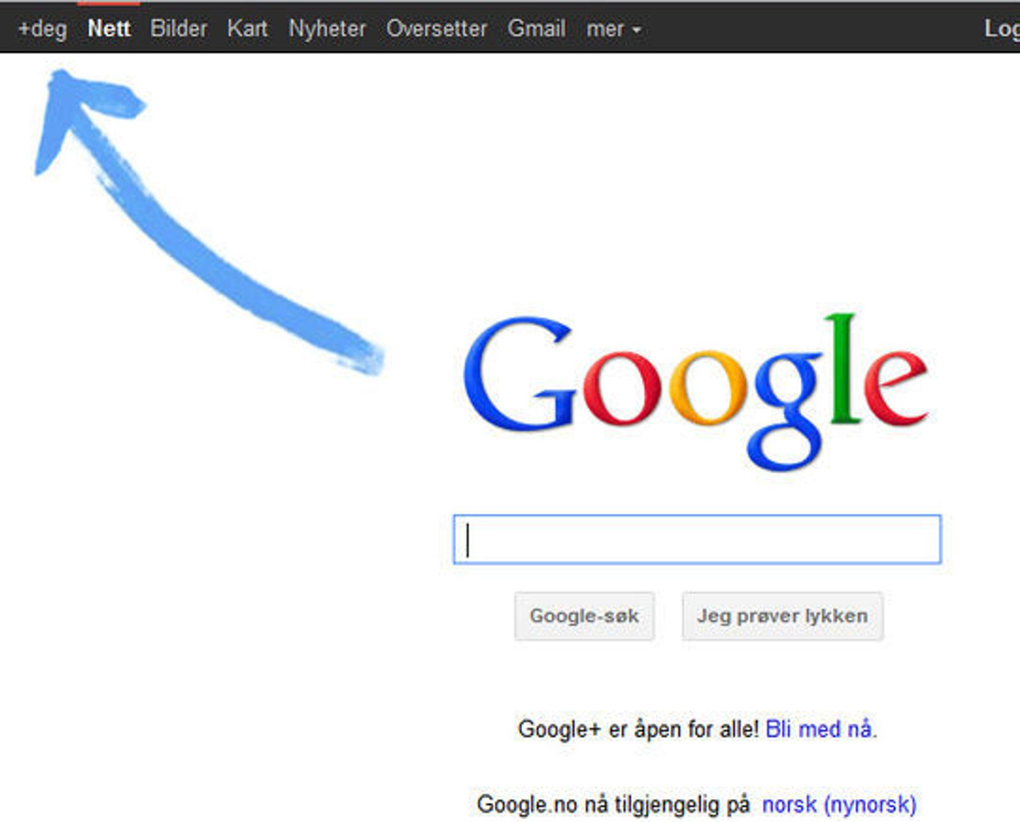 Google markedsfører Google+ i den vanlige søketjenesten.