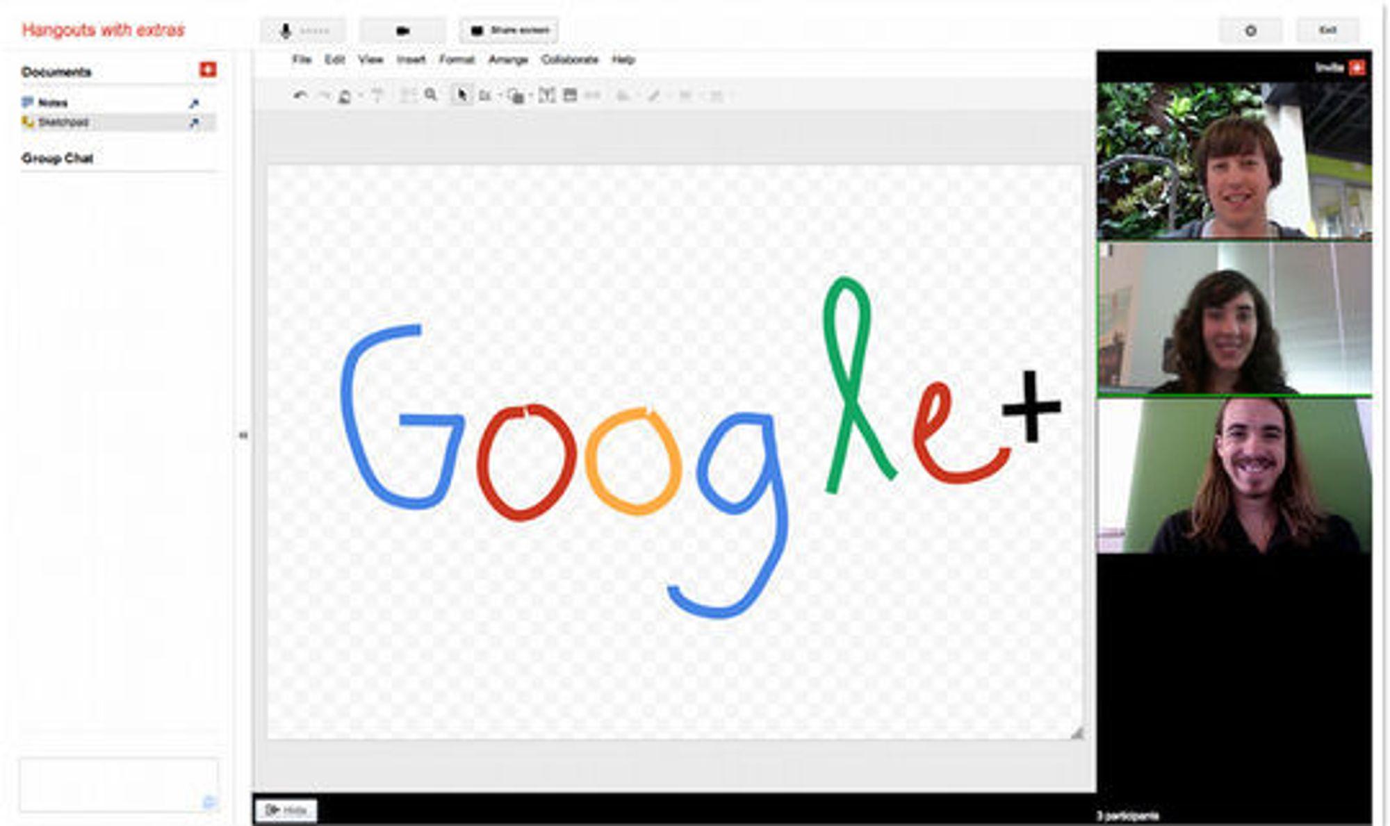 Google+ Hangouts med deling av notatblokken Sketchpad.