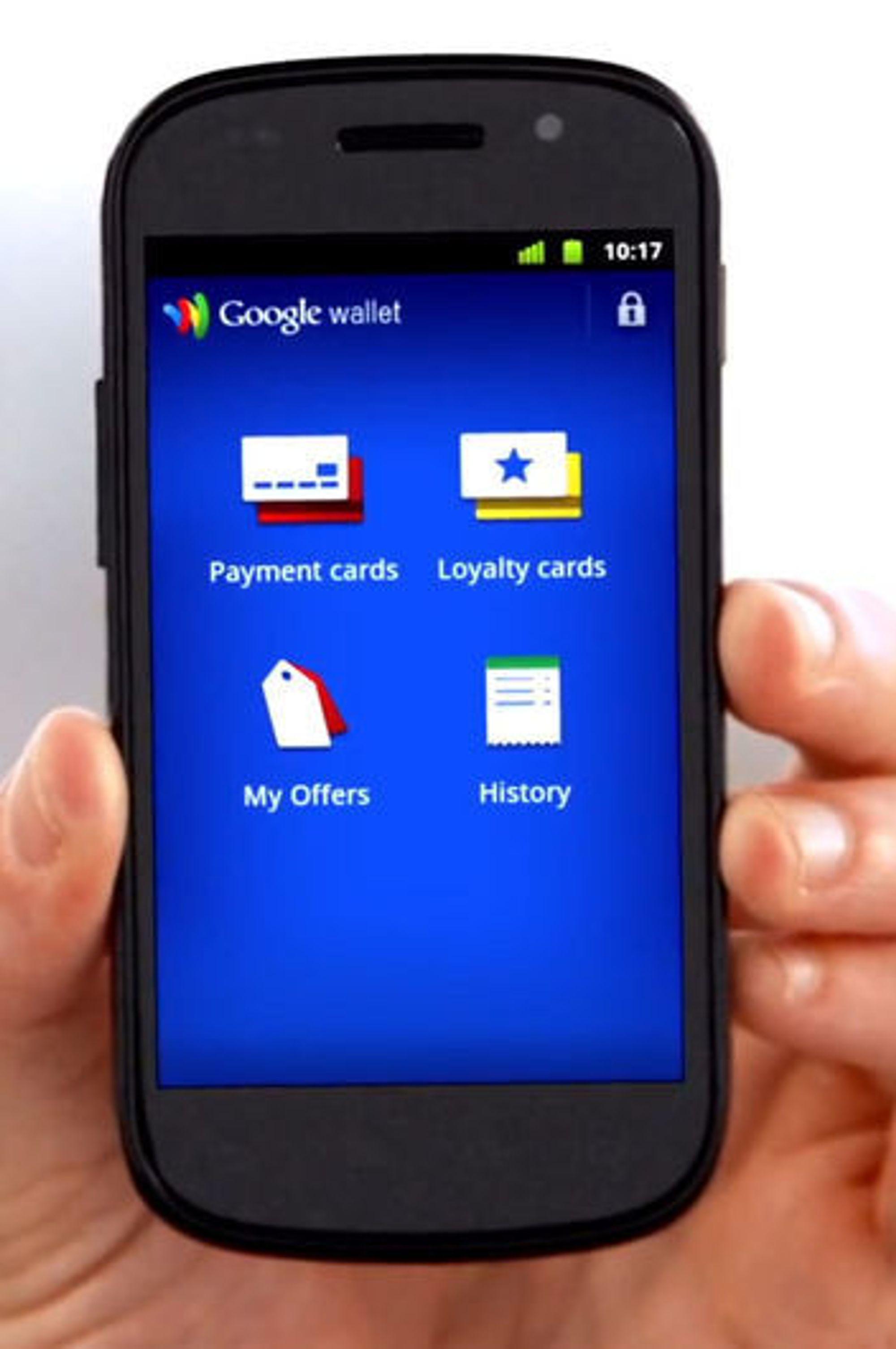 Betalingen utføres ved hjelp av Google Wallet-applikasjonen på mobilen.