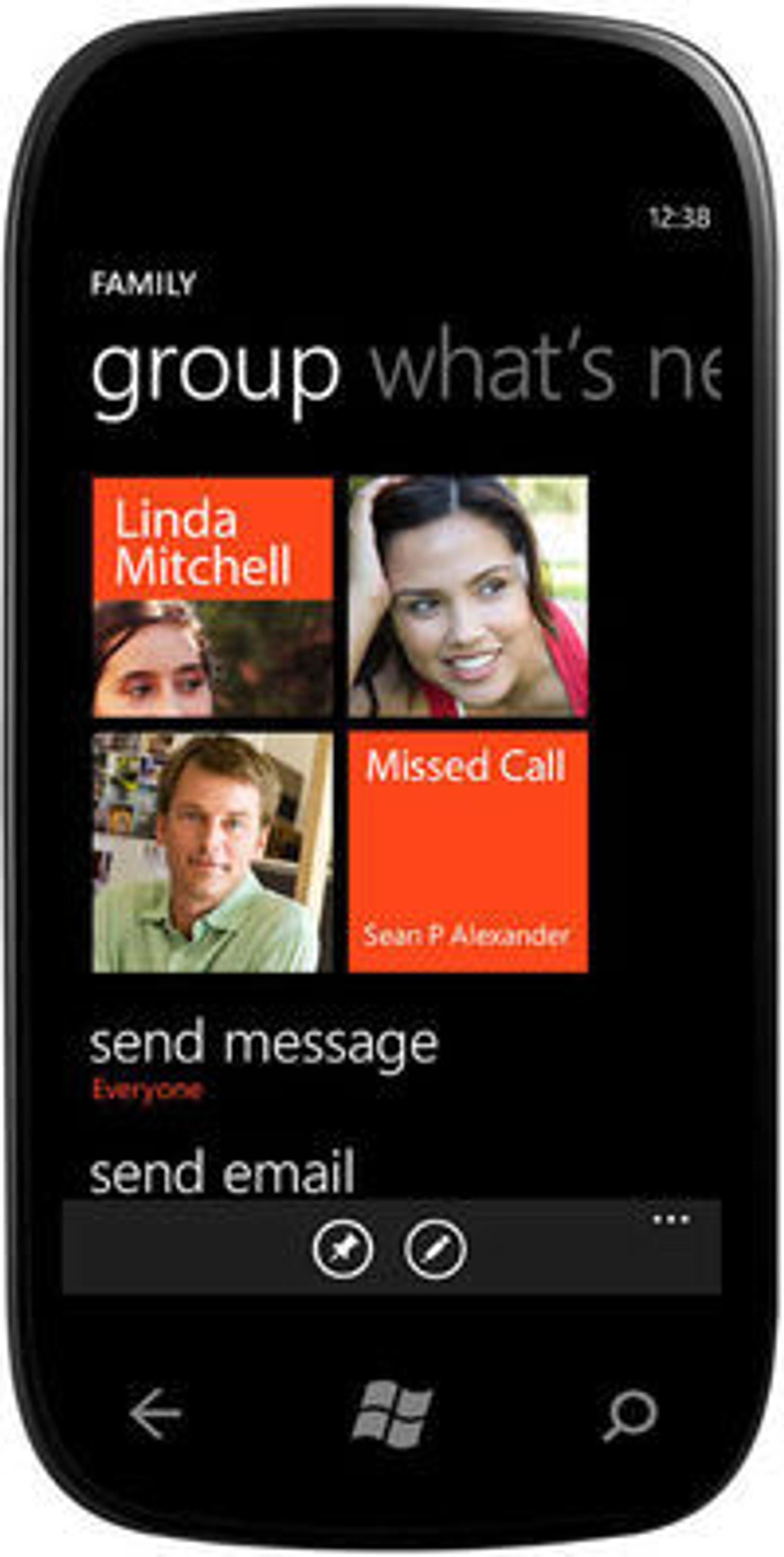 Gruppe-funksjonen hvor man kan sende meldinger og se statusoppdateringer fra en gruppe med kontakter i én og samme tile.