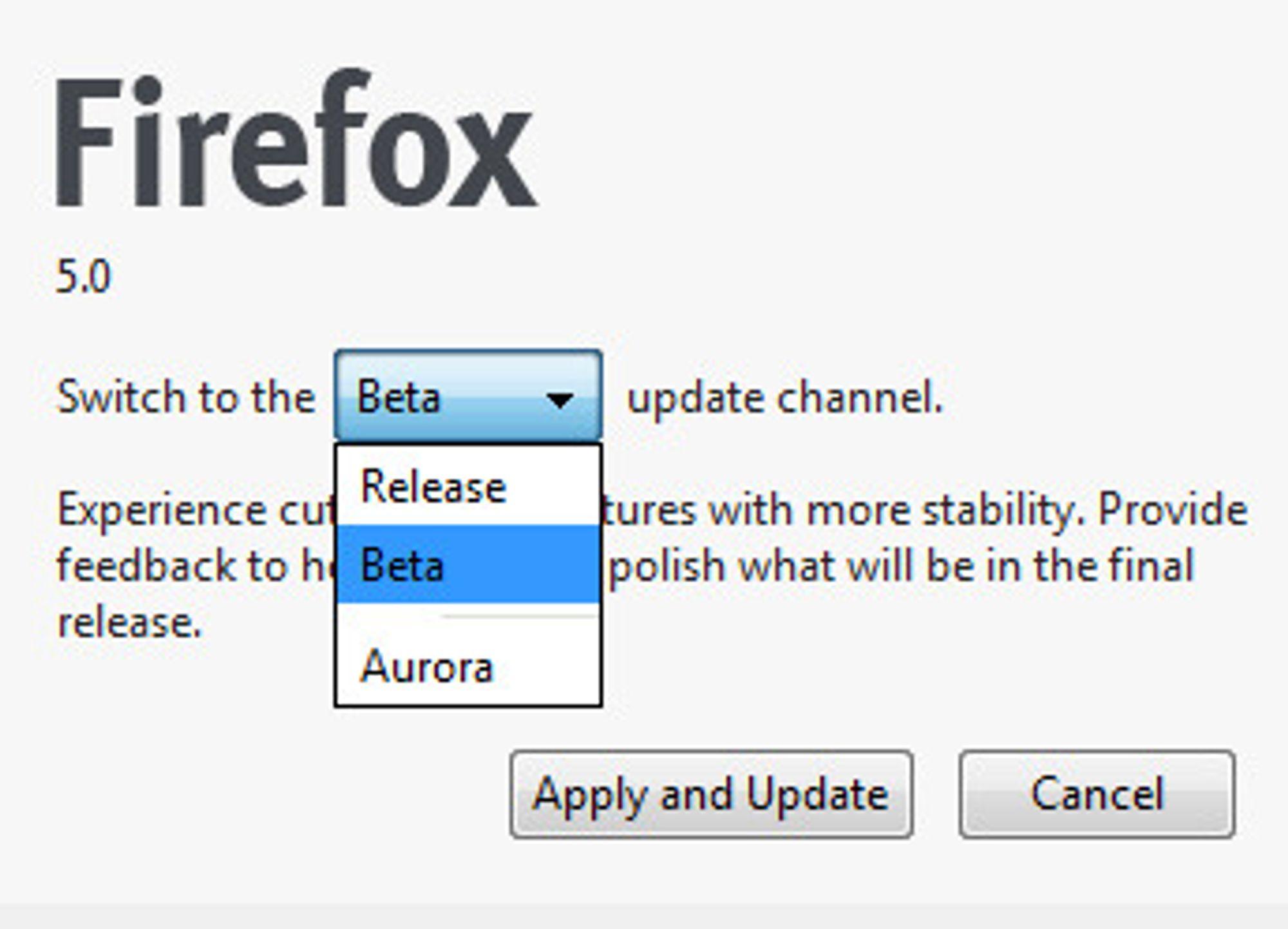 Valg av oppdateringskanal i Firefox 5 beta.
