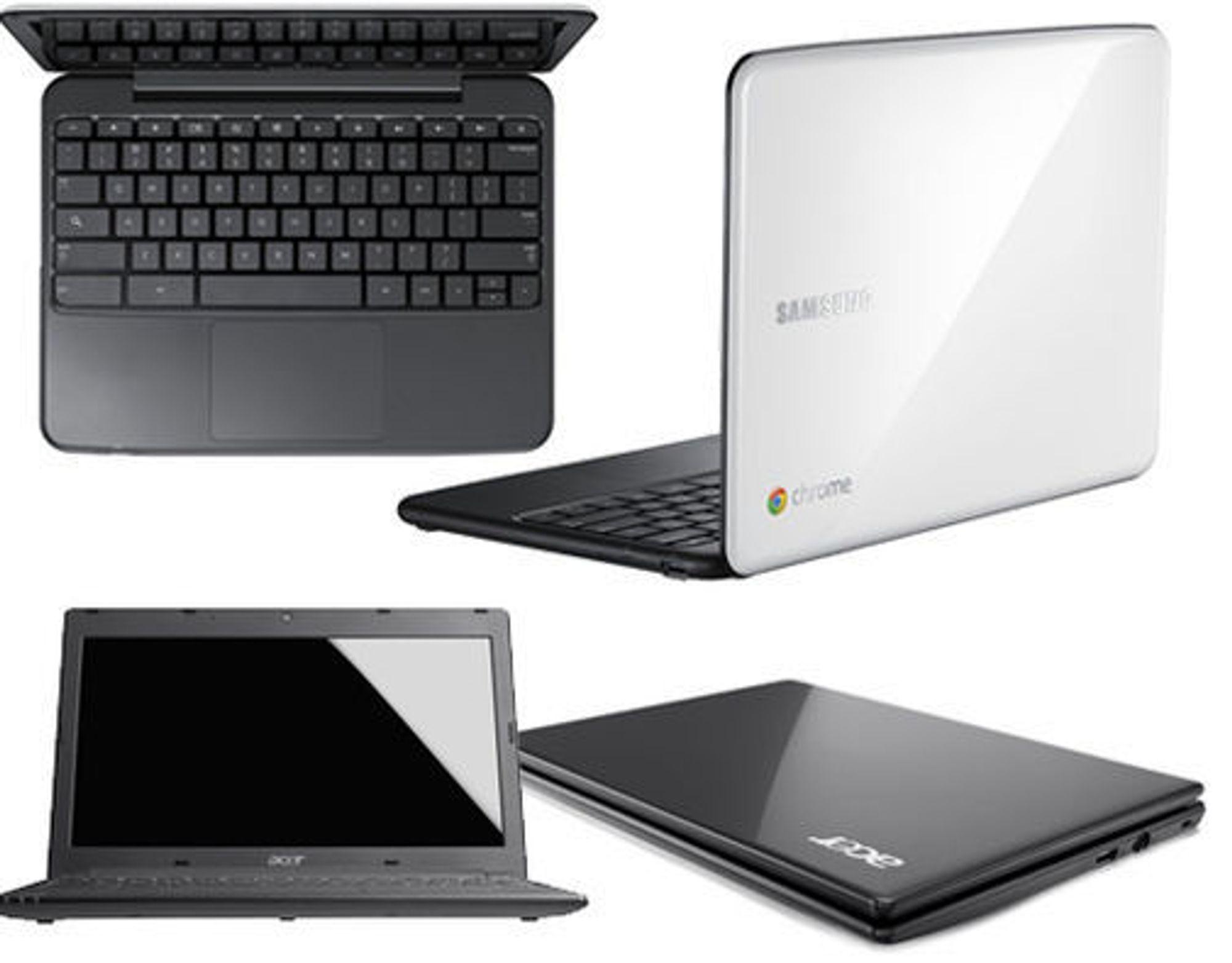 Chromebook fra Samsung (øverst) tilbys i to ulike farger. Modellen fra Acer under har litt mindre skjerm og en lavere pris.