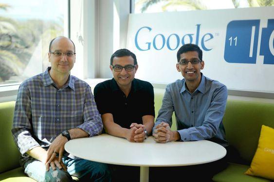 Tre av Googles ledende teknologisjefer i forkant av Google IO 2011. Fra venstre Andy Rubin, Vic Gundotra og Sundar Pichai