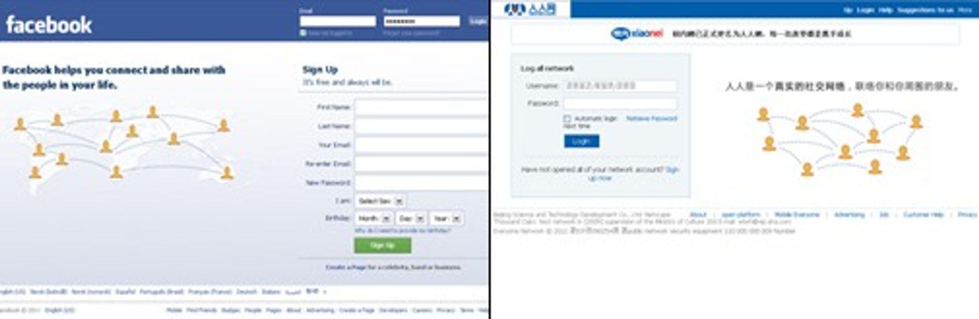 Facebook (til v.) ble etablert året før Renren (tidligere Xiaonei.com).