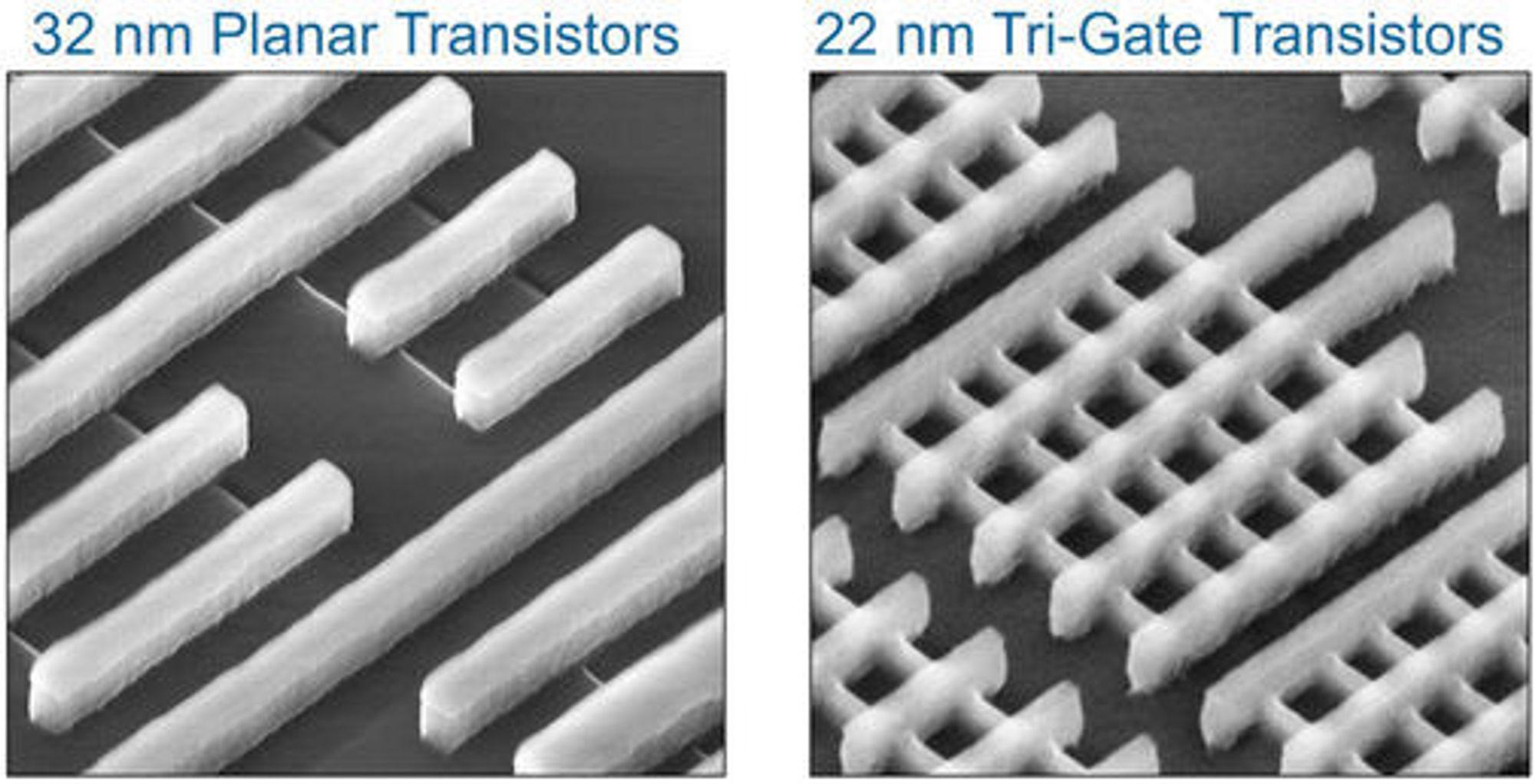 Mikroskopbilde av 32 nm planartransistorer og 22 nm Tri-Gate-transistorer. I bildet til høyre går portene fra nederst til venstre og opp mot høyre, mens finnene går fra øverst til venstre og mot det nederste, høyre hjørnet.