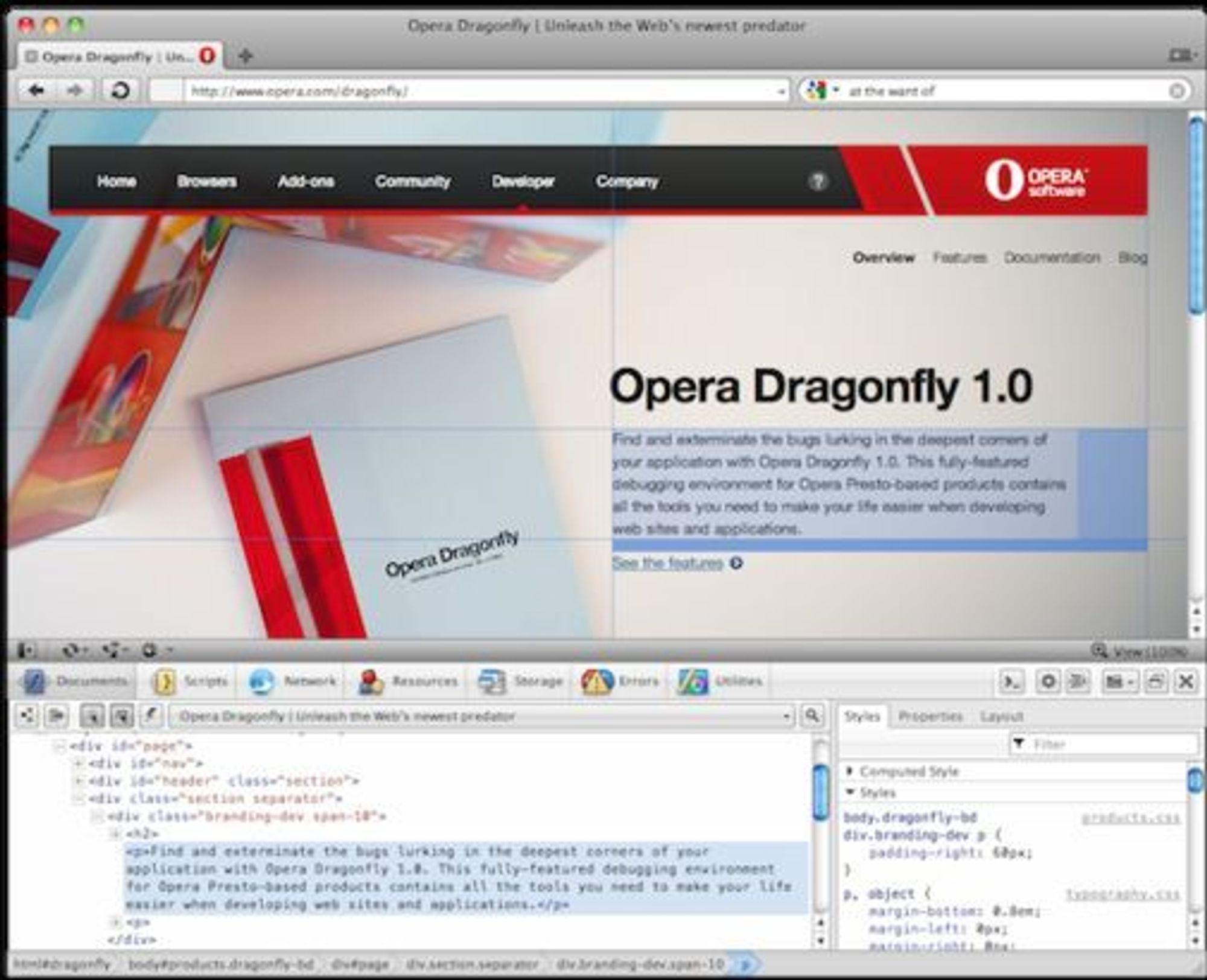 Utviklerverktøyet Opera Dragon er tett integrert med Opera-nettleseren.