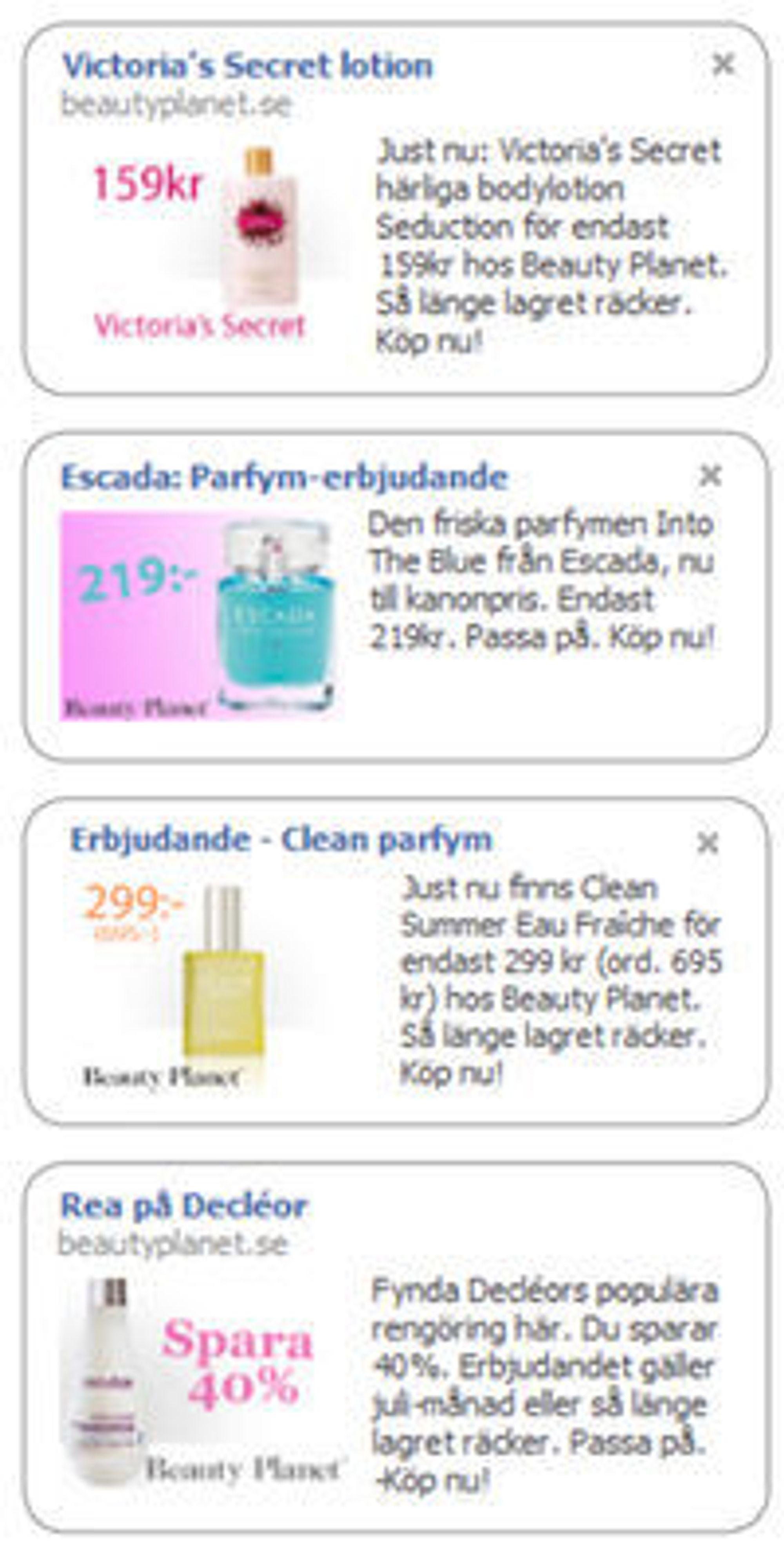 Eksempler på BeautyPlanet.se-annonser på Facebook.