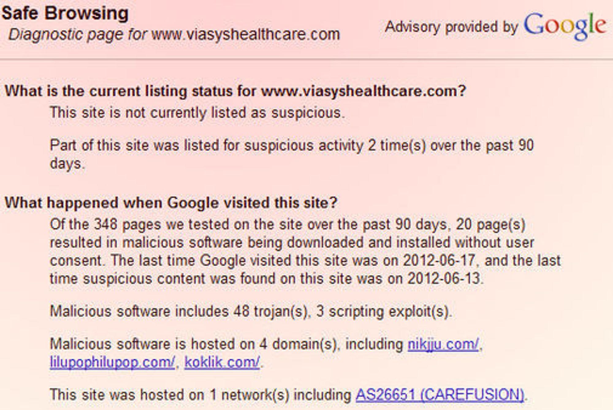 Googles rapport viser at trojanerne ble sist observert 13. juni, én uke etter at professor Keng Fu kom med sin advarsel. Nettstedet er nå stengt, og erstattet av en plakat.