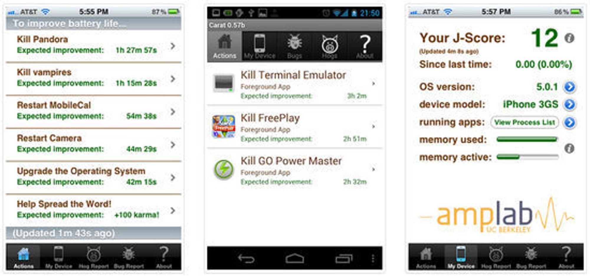 Carat-applikasjonen  forteller brukeren hvilke applikasjoner som bruker mest energi, i tillegg til å komme med tips om hvordan batteritiden kan forlenges.