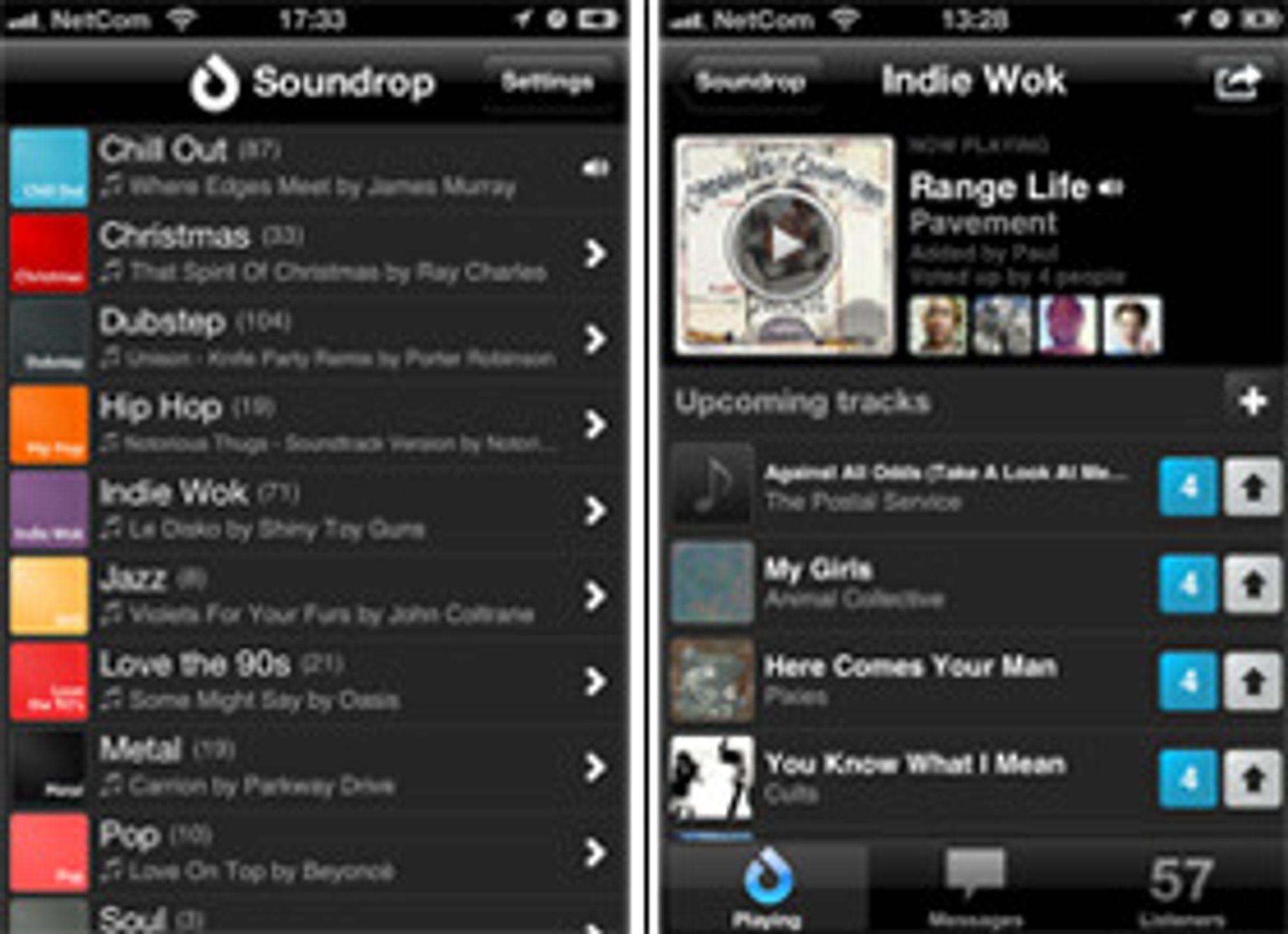 Soundrop-klienten til iOS fungerer på samme vis, og krever også premium-abonnement på Spotify.