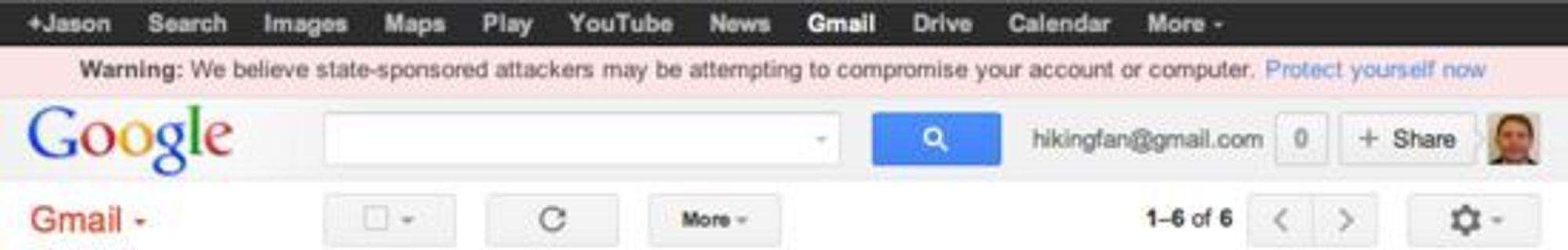 Google varsler brukere dersom selskapet mistenker at Google-kontoen deres står i fare for å bli kompromittert gjennom statssponsede angrep.