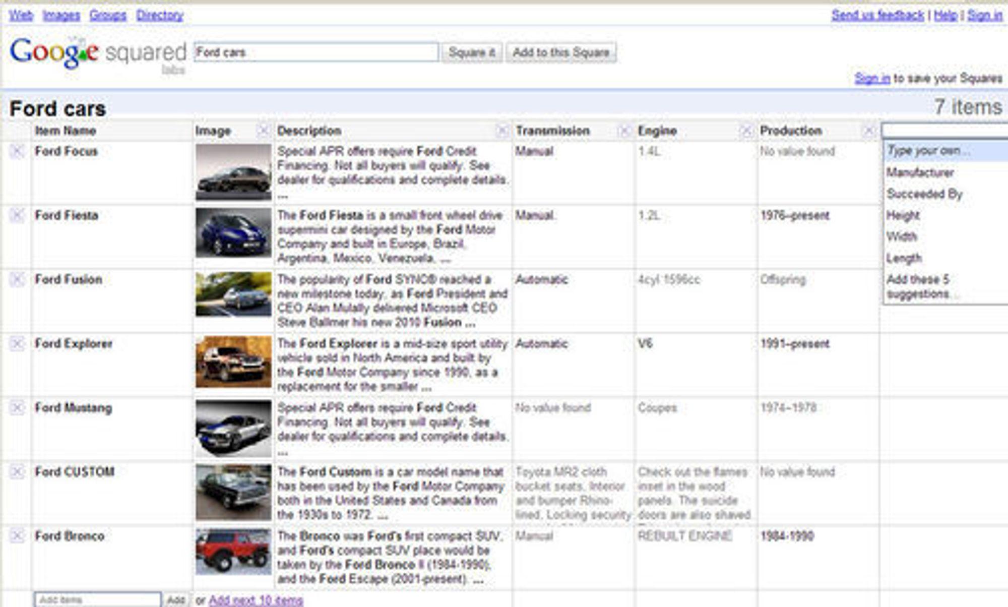 Søk etter biler fra Ford i Google Squared.