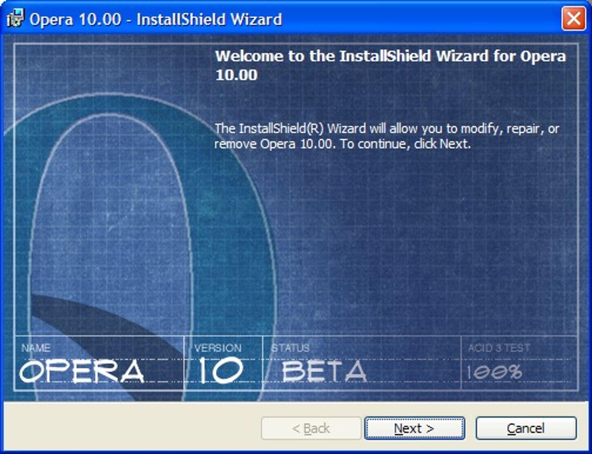 Fra installasjonsprogrammet til Opera 10 beta
