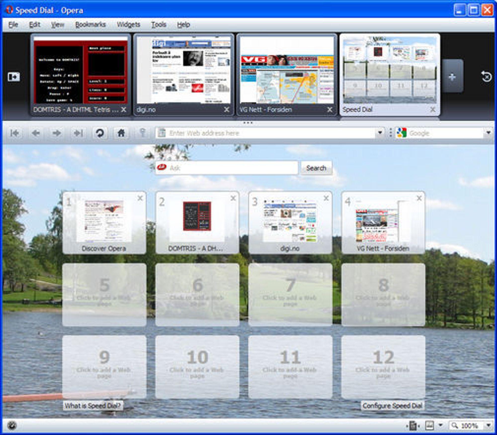 Utvidet Soeed Dial i Opera 10 beta. På toppen vises miniatyrbilder av fanene.