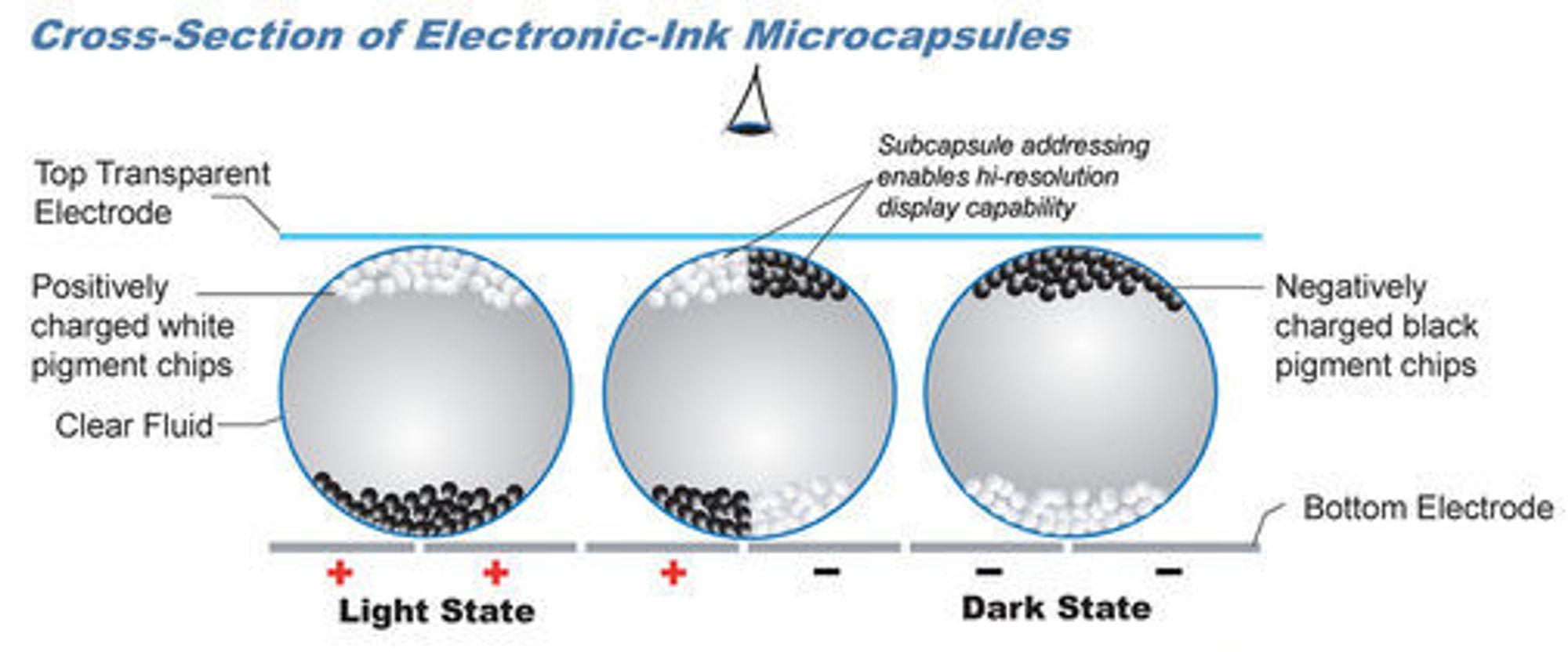 Elektronisk papir virker ved at pigmentkuler flyttes avhengig av en ytre spenning. (Illustrasjon: E Ink)
