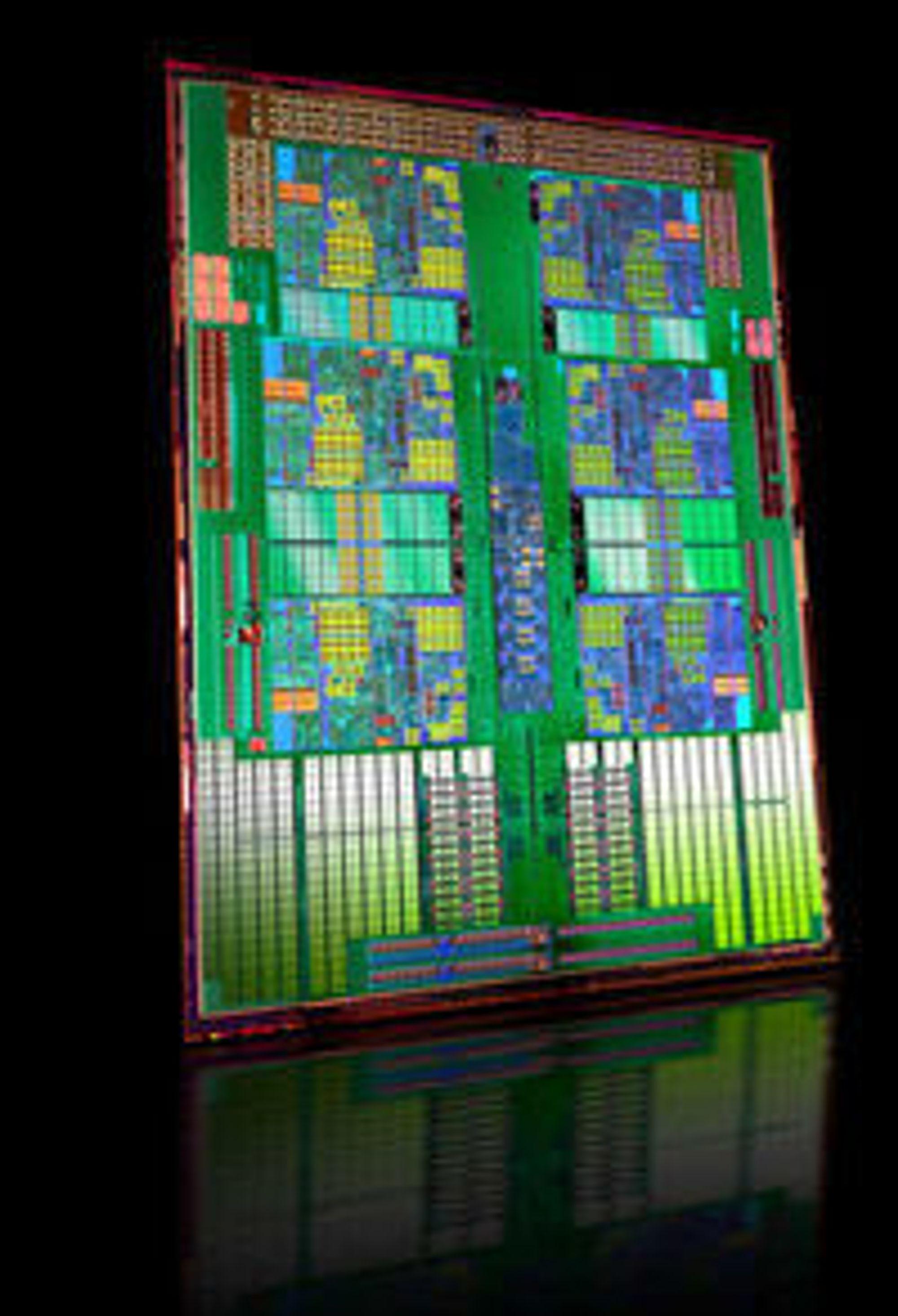 Innmaten i en sekskjernet Opteron-prosessor.