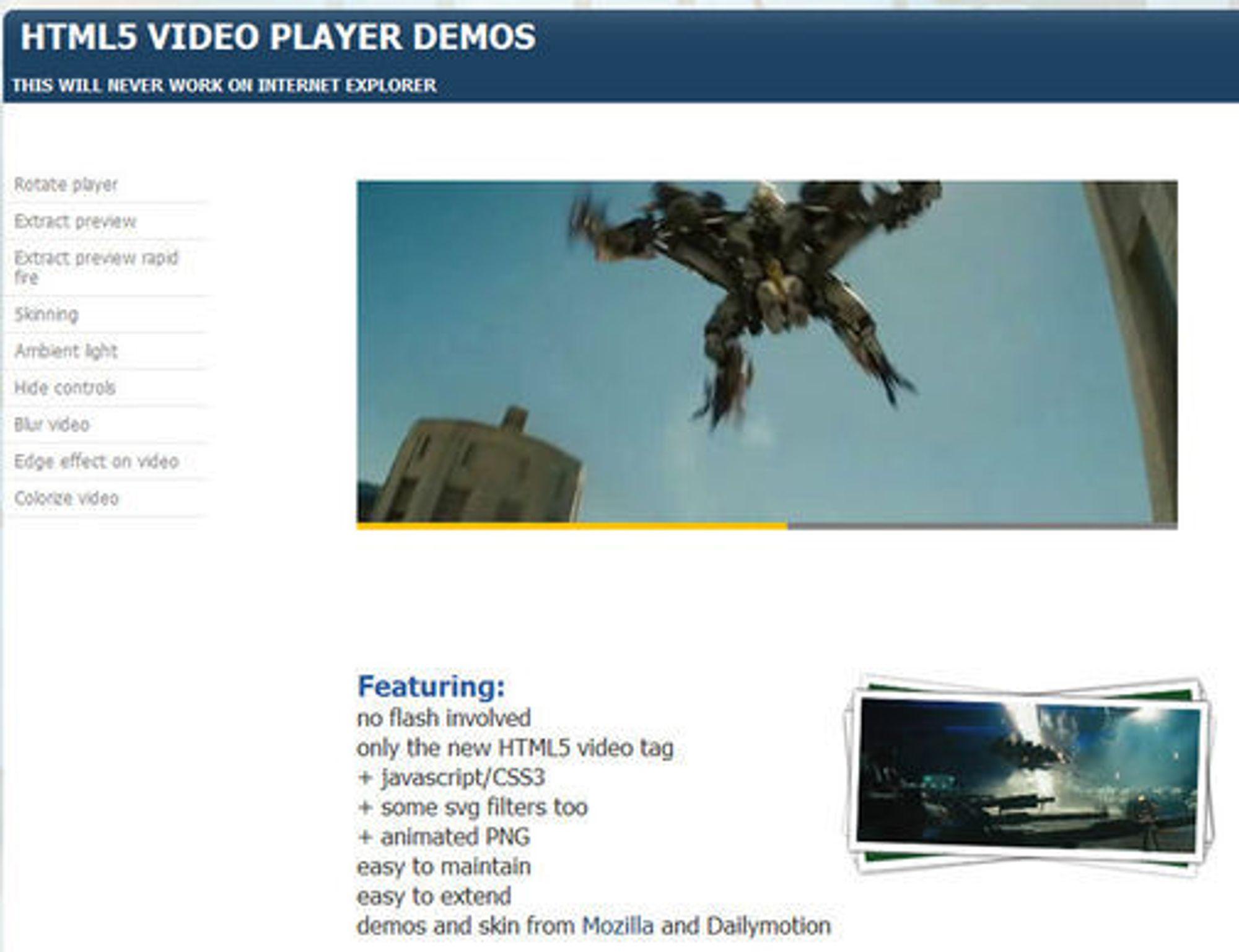 Dailymotions demonstrasjon av en HTML 5-basert videospiller. Til venstre finnes det flere muligheter til å manipulere avspillingen.