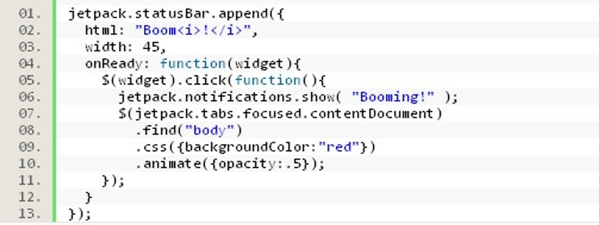 Eksempelkode for Jetpack-widget. Denne endrer bakgrunnfargen på alle websider til rød.