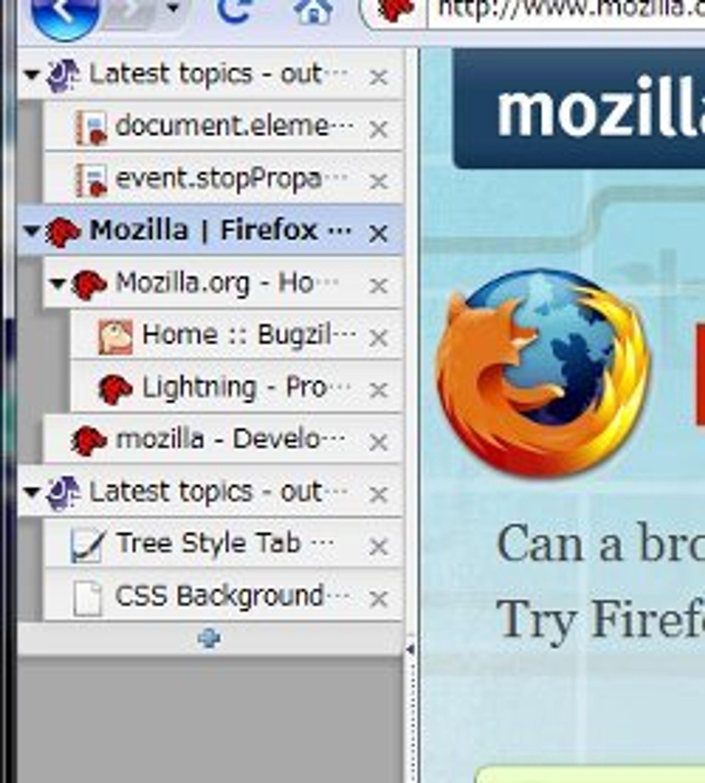 Tree Style Tab viser de åpne sidene i sidefeltet i Firefox.