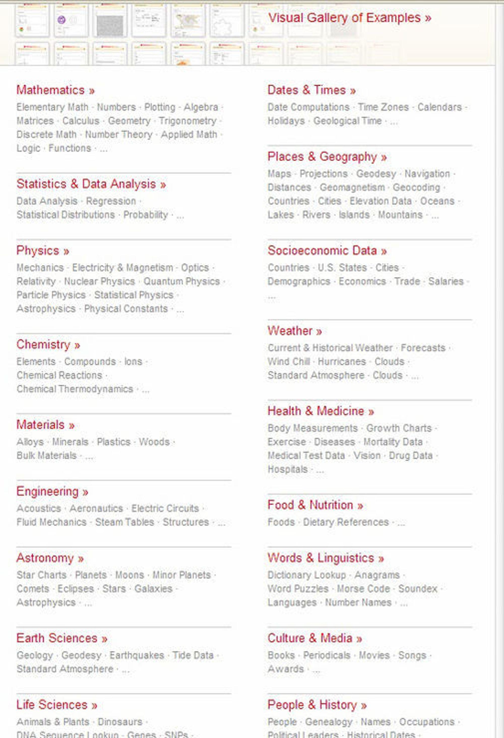 Eksempler på områder som WolframAlpha kan svare på spørsmål om.