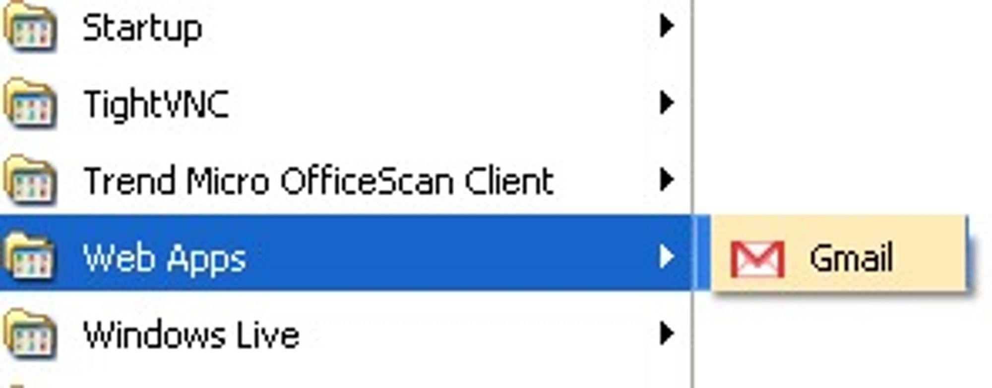 Webapplikasjonene som kjøres med Prism kan startes fra startmenyen i Windows.