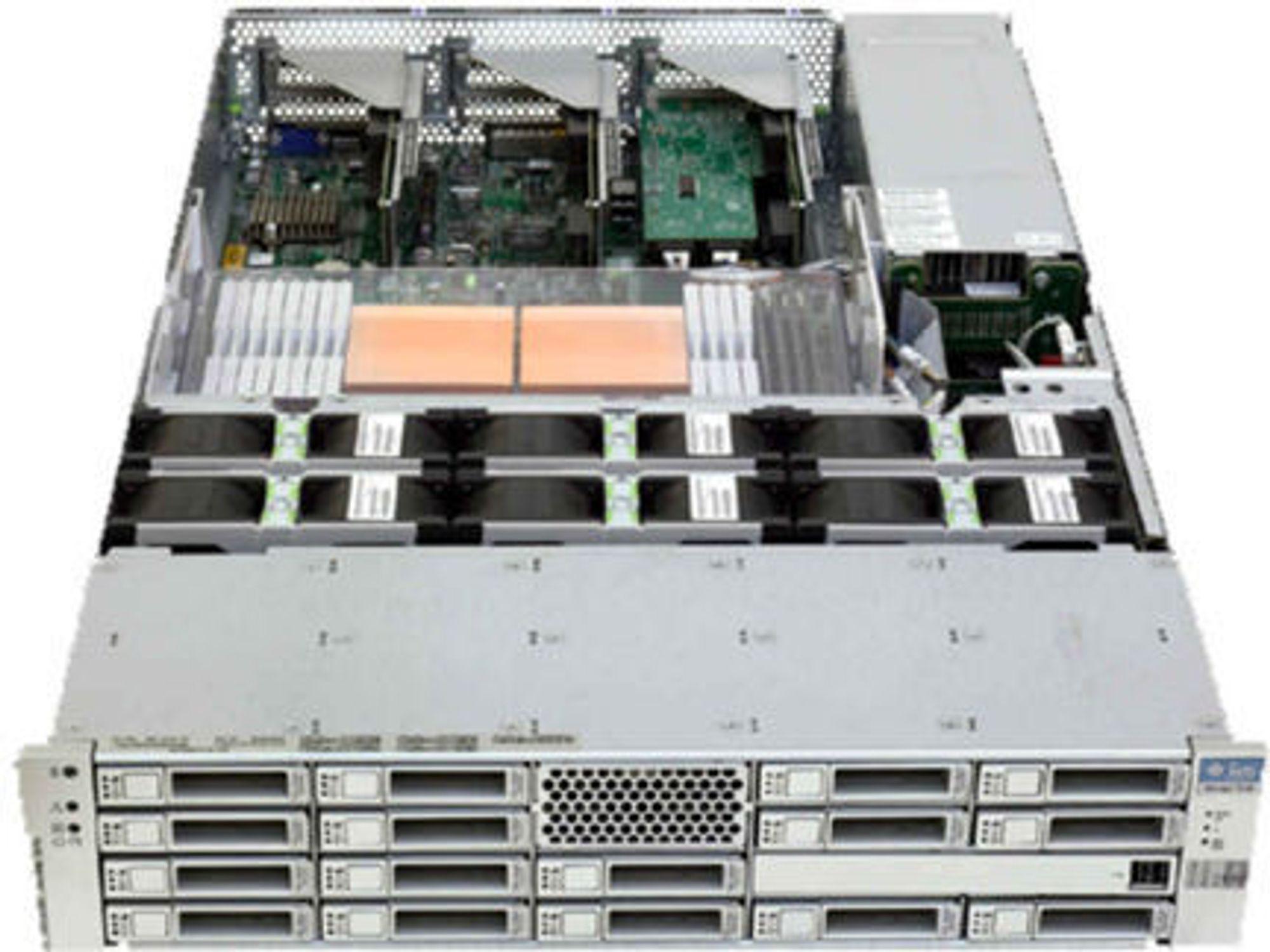 En «liten sardin»: Sun 7110 leveres med inntil to terabytes lagringskapasitet, 8 gigabyte RAM, én firekjernet Opteron-prosessor.