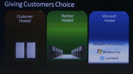 Microsofts sjef for administrasjon og tjeneester, Brad Anderson, fortalte 4.000 deltagere på TechEd 2008 i Barcelona at serverprogramvaren enkelt skal kunne flyttes mellom egne serverrom, leverandørers serverrom og Microsofts store nettsky.