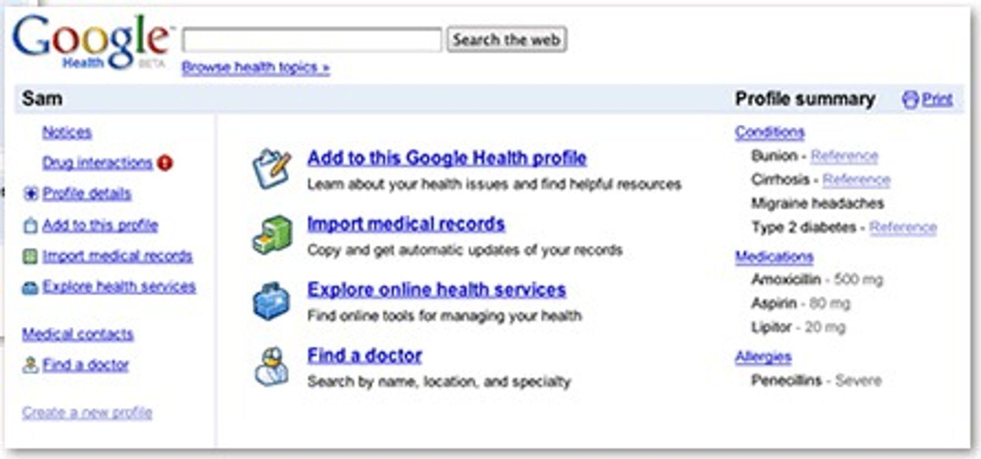 Åpningsbildet i Google Health kommer etter en pålogging av samme type som på e-posttjenesten Gmail.