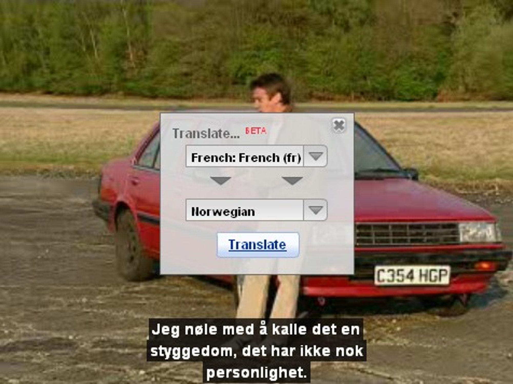 Oversatt Top Gear-video fra Youtube.