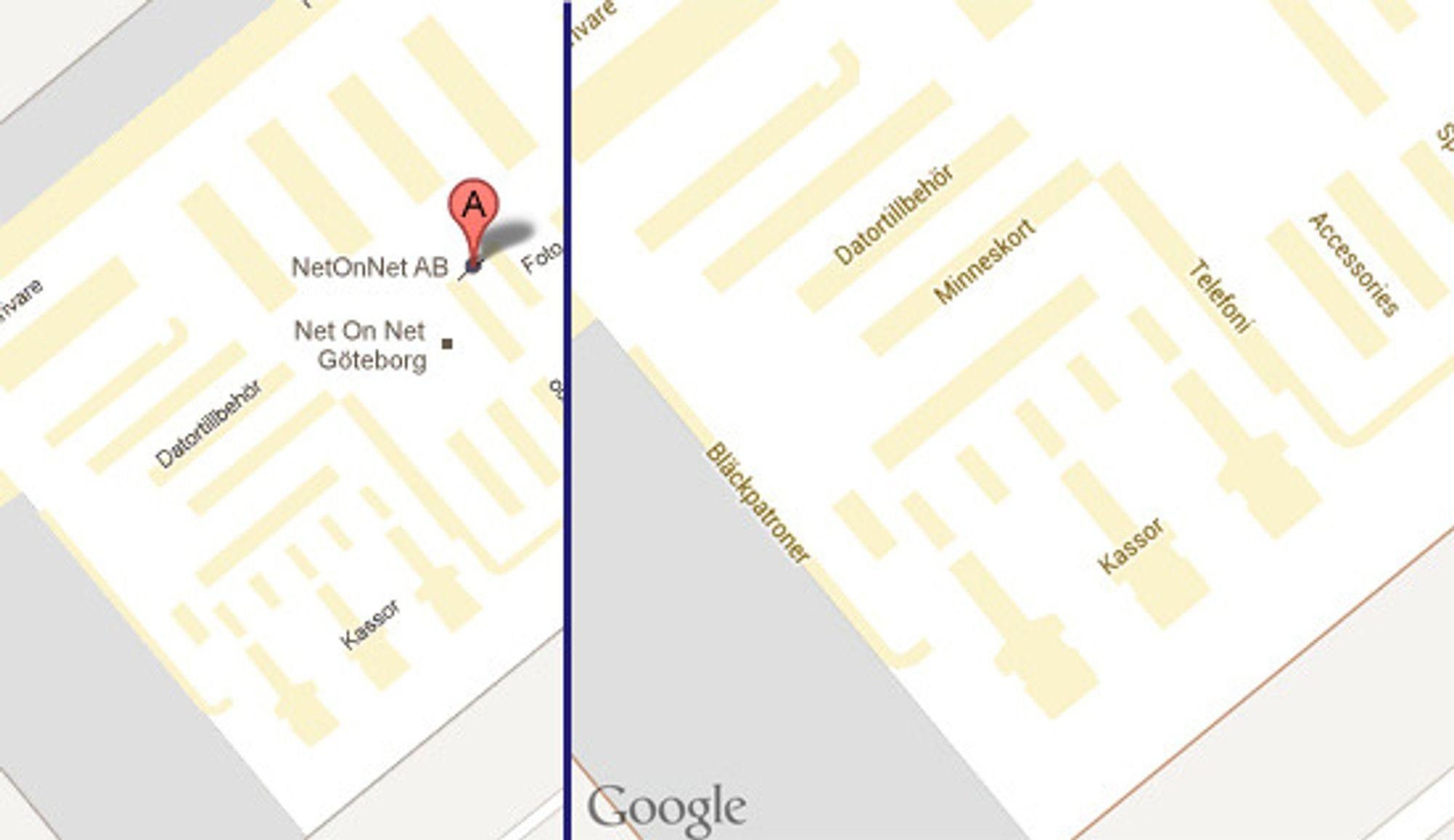 Oppløsningen og detaljnivået i webutgaven er betydelig lavere enn i Android-utgaven. Her ser man et utsnitt av gulvplanen til NetOnNet i Gøteborg. Utsnittene viser omtrent det samme arealet, men Android-utgaven av kartet (til høyre) er langt mer detaljert, selv om det her vises med halvvert oppløsning. Kartet til venstre er fra webutgaven av Google Maps hvor vi har zoomet så langt inn som det går.