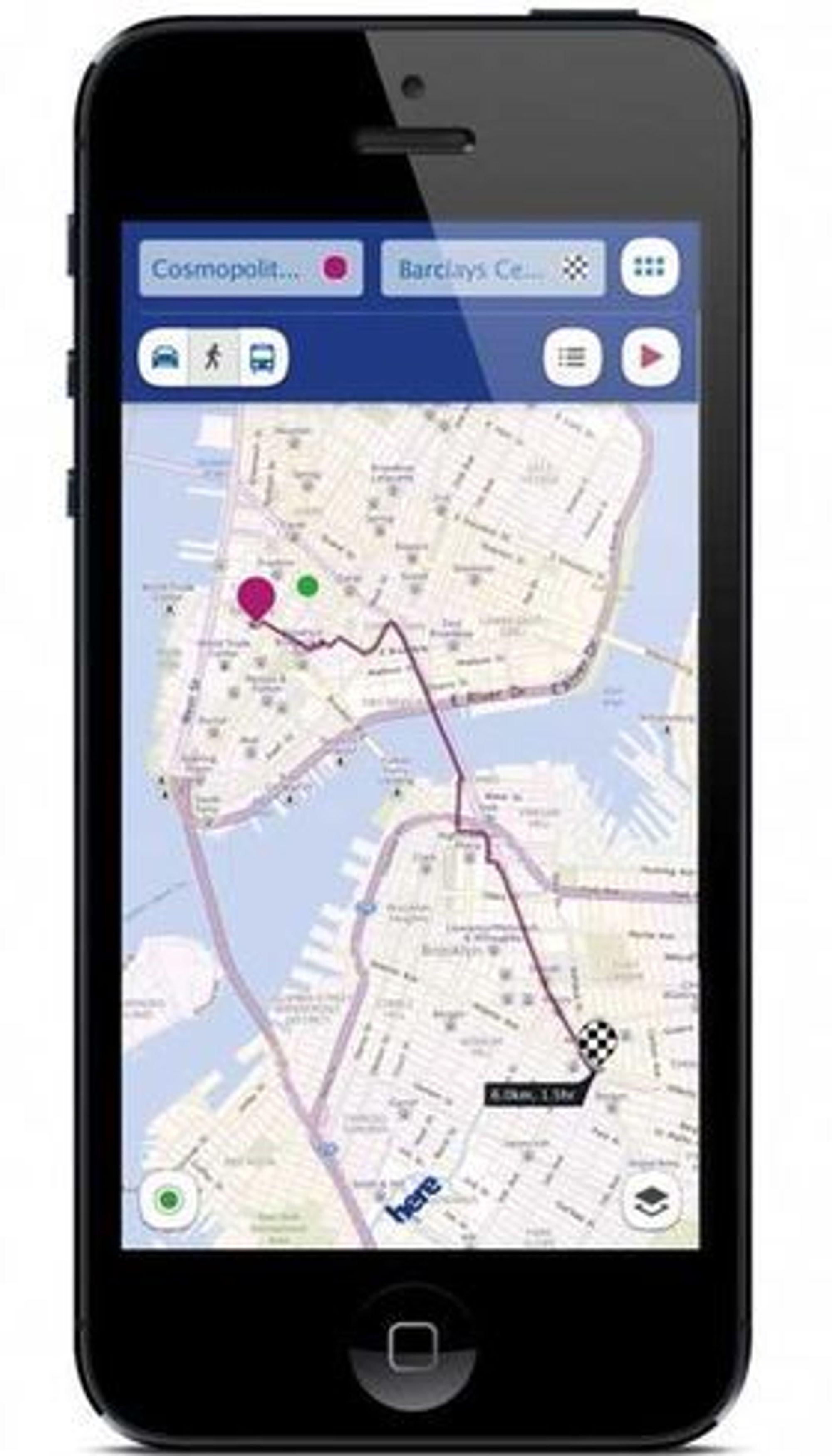 Nokia Here-appen til iOS. Her vises navigasjon for fotgjengere.