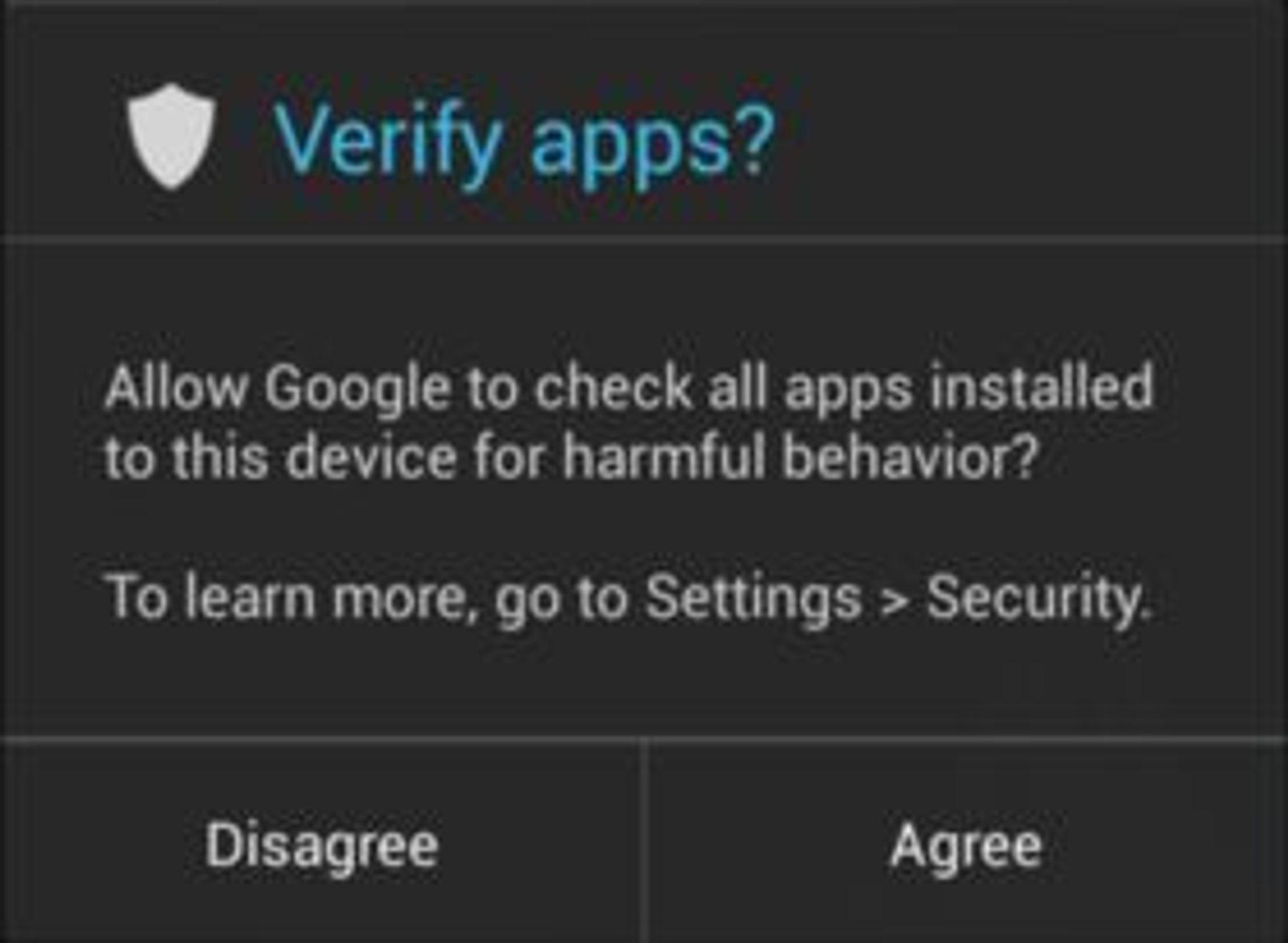 Android 4.2 spør brukeren om applikasjoner skal kontrolleres, dersom de installeres fra andre kilder enn Google Play Store.