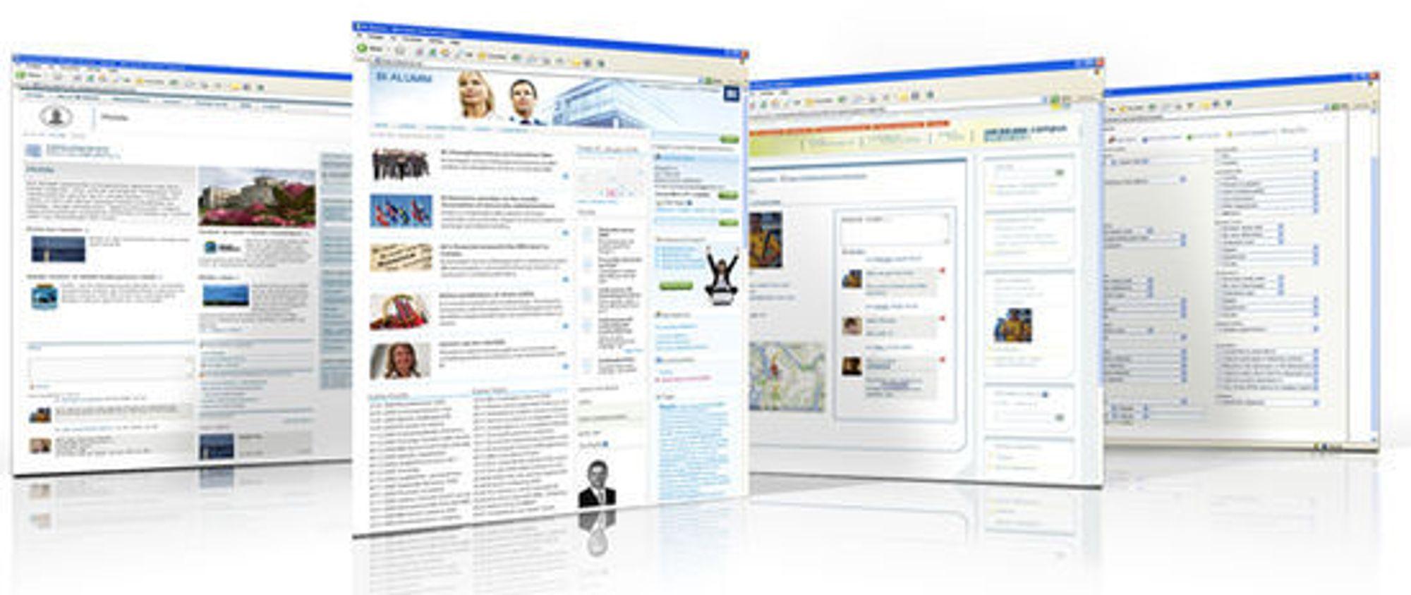 Skjermbildene i Netenvirons løsninger minner om kjente sosiale medier, samtidig som de er skreddersydde behovene og ønskene til den enkelte organisasjonen.