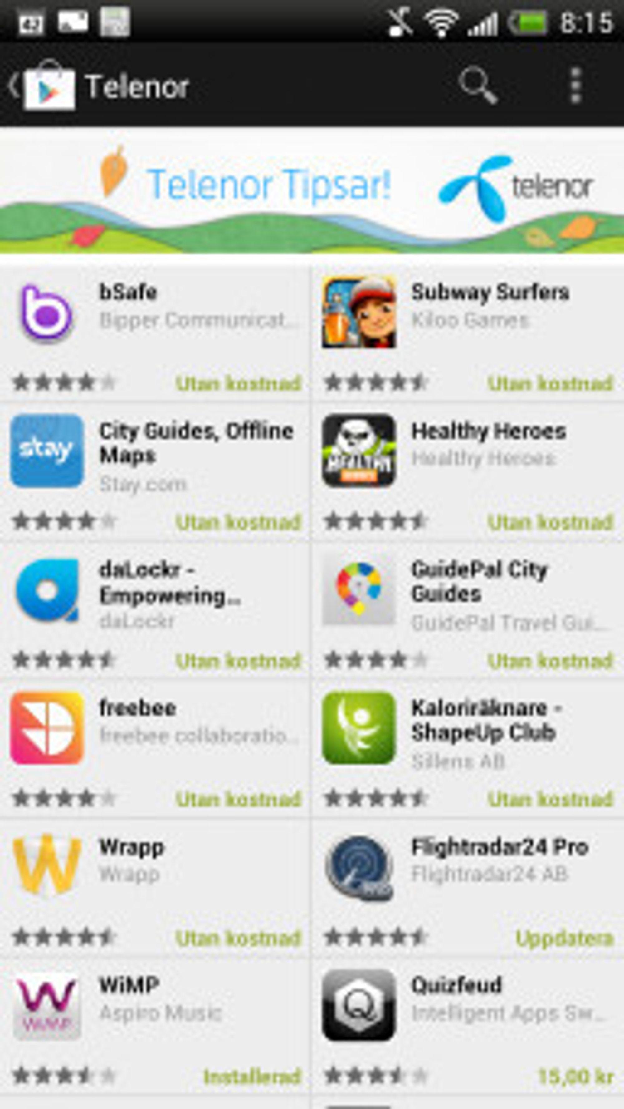 Den svenske Telenor-hyllen i Google Market
