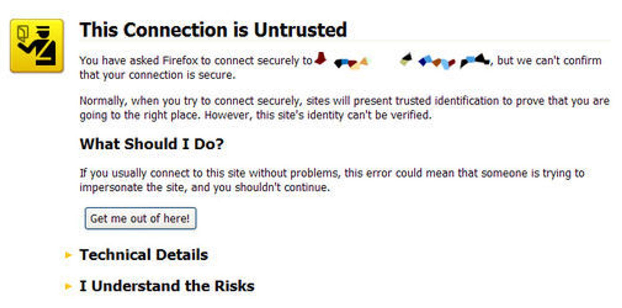 Tilsvarende advarsel i Firefox 3.5.