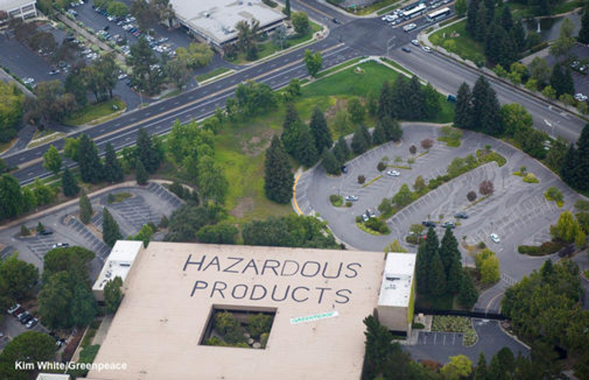 Greenpeace-markering på taket til HPs hovedkontor i USA. Foto: Greenpeace.