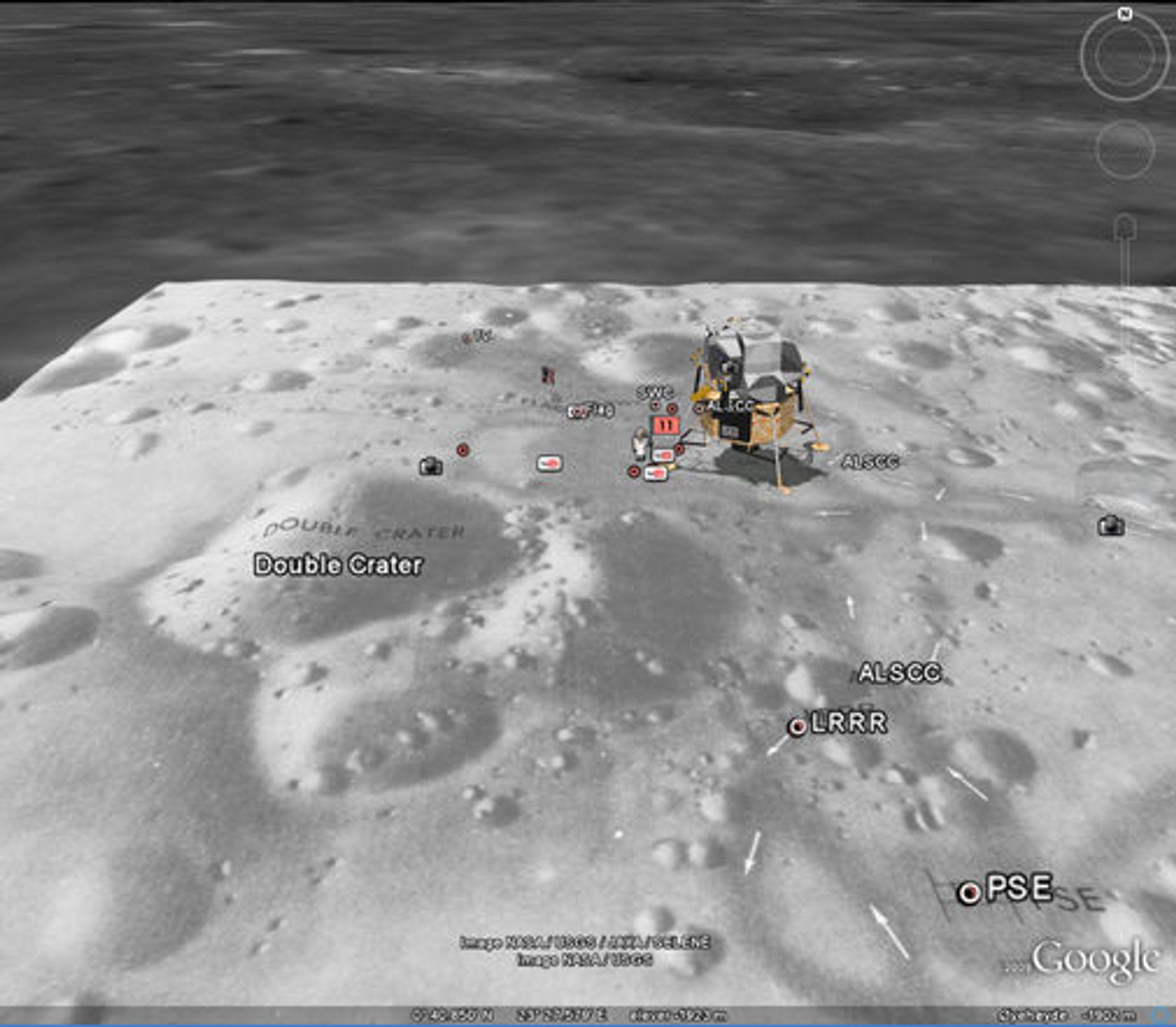 "Månelandingsfartøyet ""Eagle"" ved ""Tranquility Base"" på Månen."