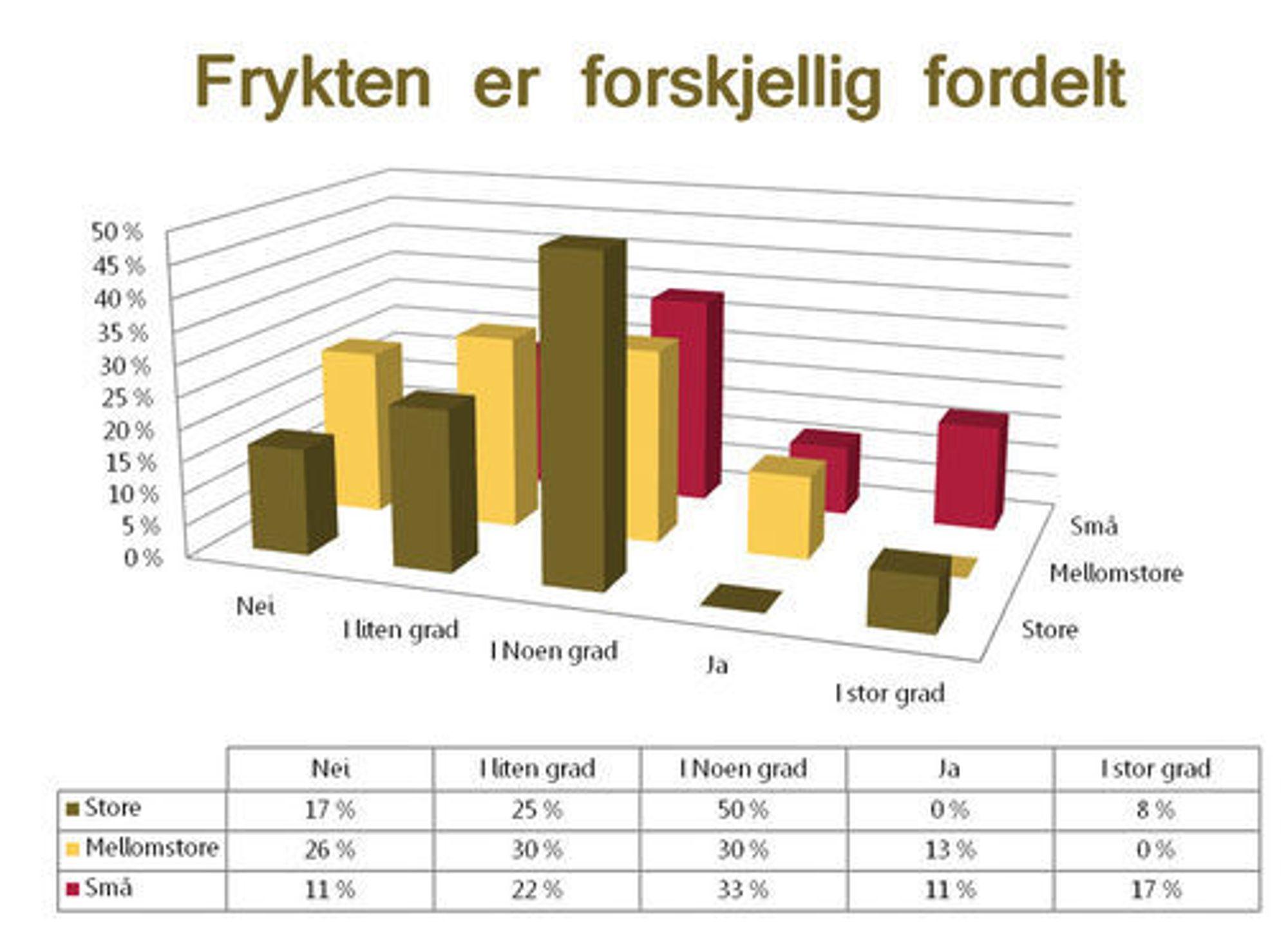 Diagram som viser i hvor stor grad lederne for norske IT-bedrifter frykter høsten 2009. Illustrasjon: Madigan.