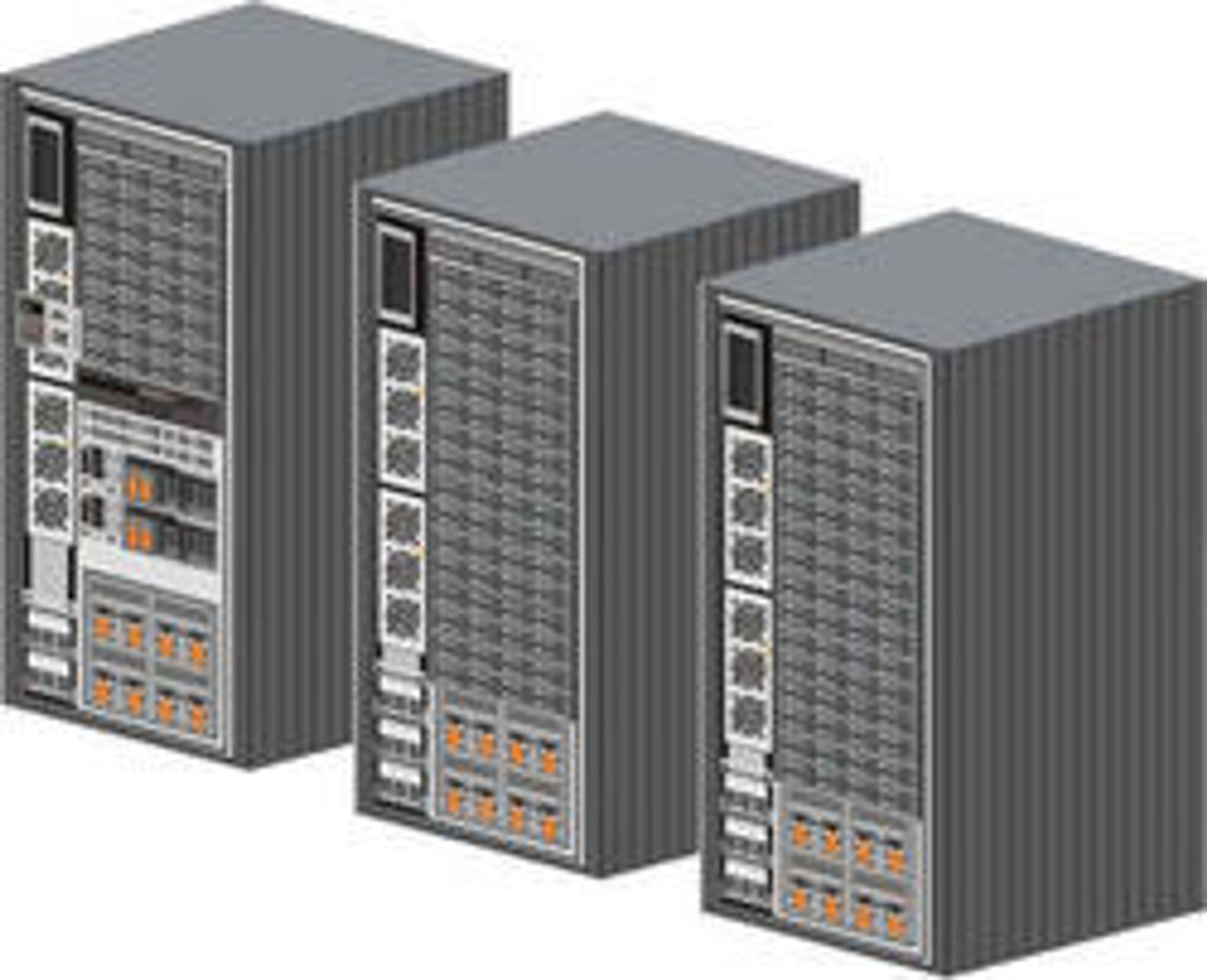 IBM DS8300, fullt utbygget til tre rack.