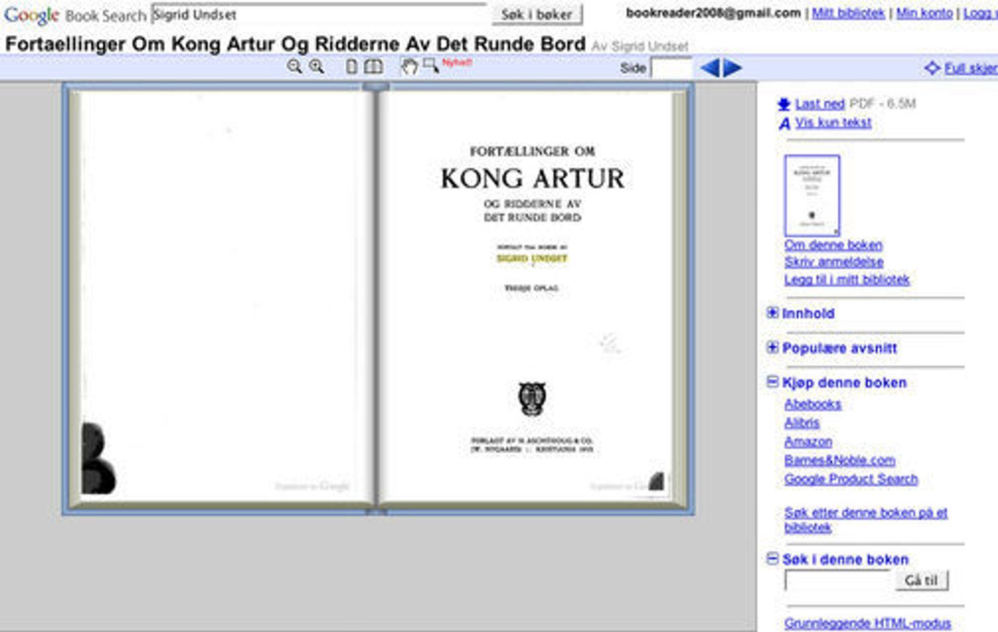 Eksempel på Google-søk i skannet bok.