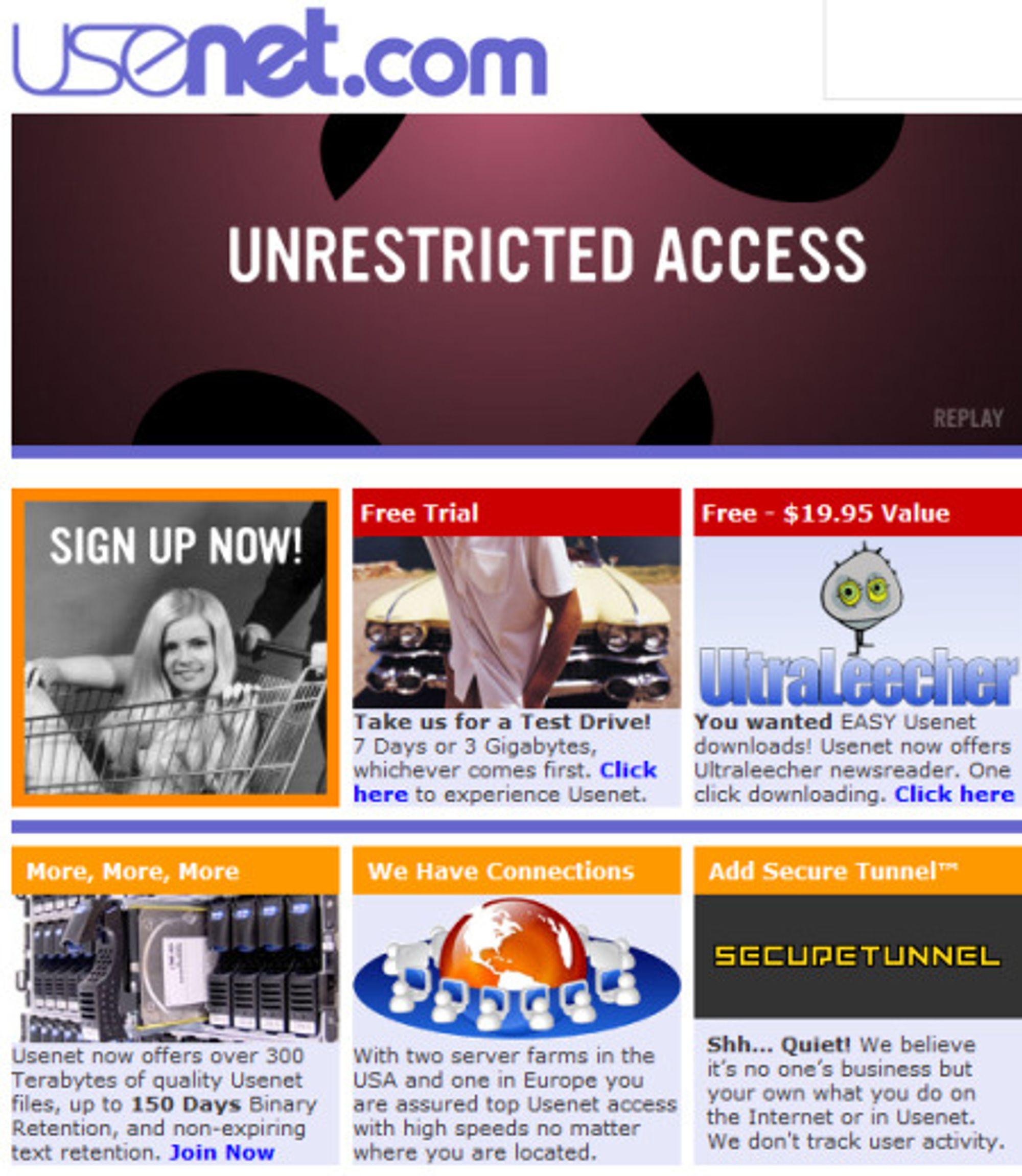 """Hjemmesiden til Usenet.com i oktober 2007. Legg merke til rubrikken merket """"secure tunnel"""". I dagens utgave er den erstattet med en mer diskret reklame for SSL og personvern."""