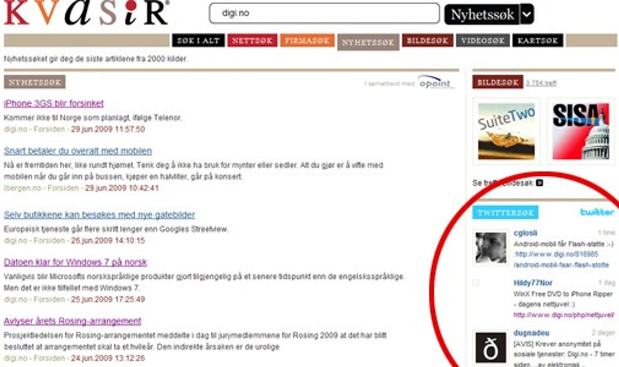 Kvasir lar brukere nå søke blant innhold fra mikrobloggtjenesten Twitter.