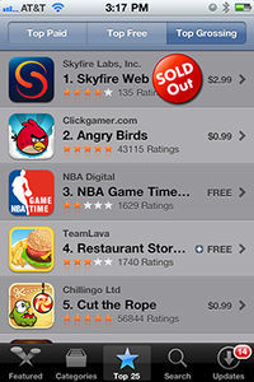 Skyfire taklet ikke etterspørselen fra ivrige iPhone-brukere. Nettleseren ble trukket tilbake få timer etter lanseringen i App Store.