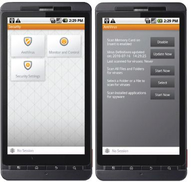 Junos Pulse Mobile Security Suite på Android, hovedmenyen til venstre, antivirusmodulen til høyre.