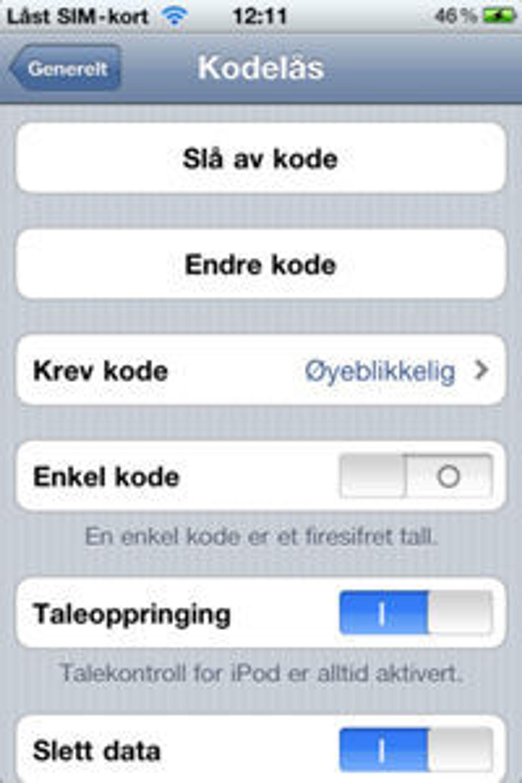 Fjern valget for enkel kode når du aktiverer kodelåsen. Det ser ut til å lukke hullet, men bare på iPhone 4.