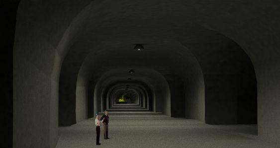 3D-bildet viser hvilke enorme dimensjoner gruvegangene har. Det samlede arealet for en framtidig datasentral er på 120.000 kvadratmeter.
