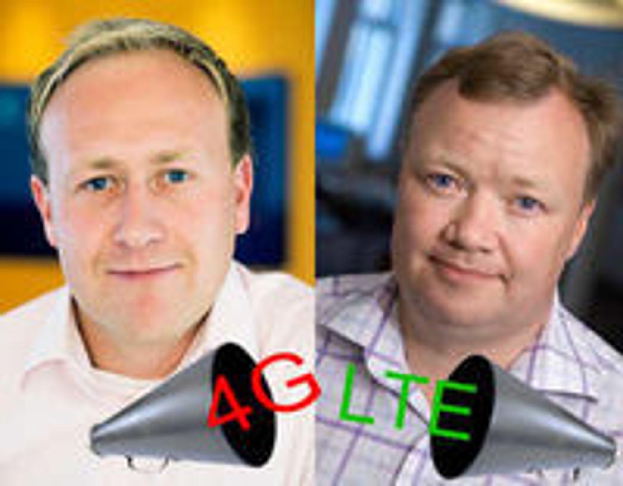Det handler om å bli forstått av kundene, sier Netcoms Øyvind Vederhus (til v.). - Løgn, mener teleanalytiker John Strand om bruk av begrepet 4G.