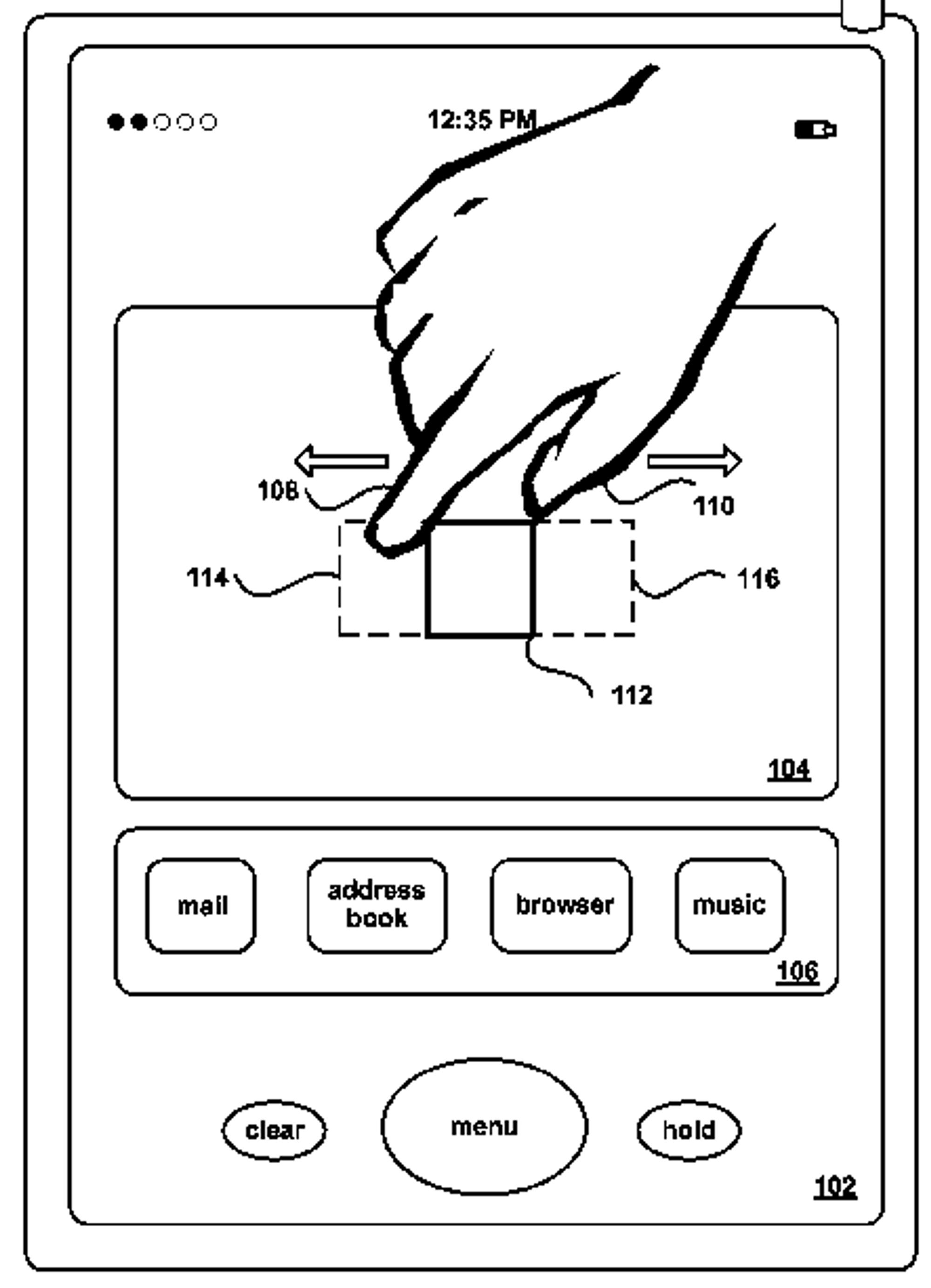 Illustrasjon fra Apple-patent relatert til multitouch og pinch-to-zoom.
