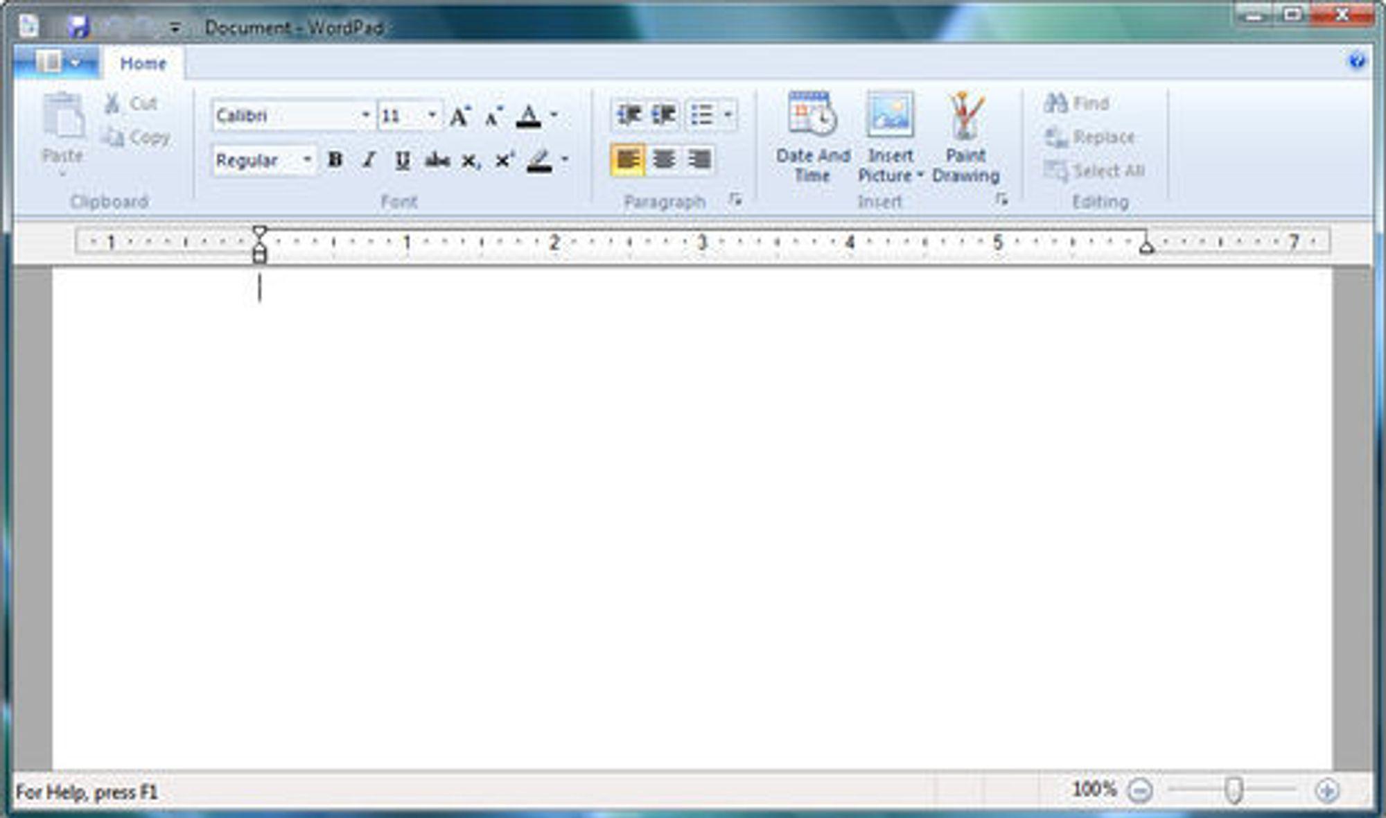 Skriveverktøyet Wordpad, nå med ribbons.