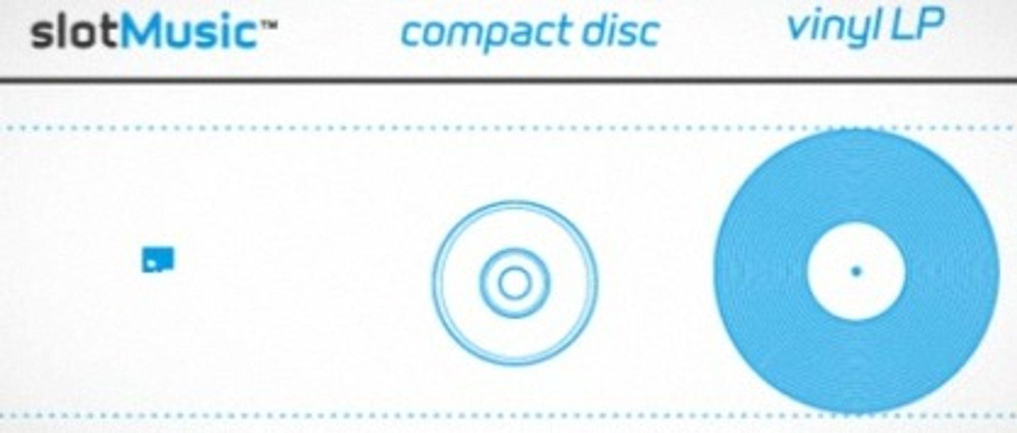 Illustrasjonen viser hvilke ambisjoner plateselskapene har for det nye formatet. De håper å kunne erstatte CD-plata. (Kilde: slotmusic.org)